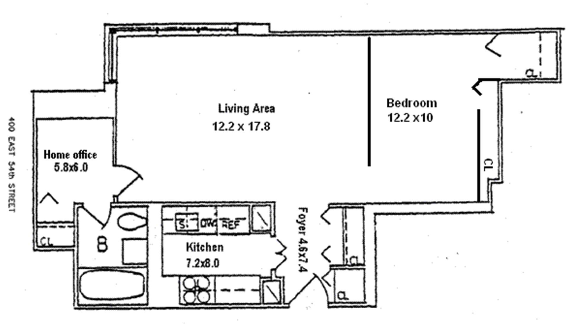 Floor plan of The Revere Condo, 400 East 54th Street, 30H - Sutton Area, New York