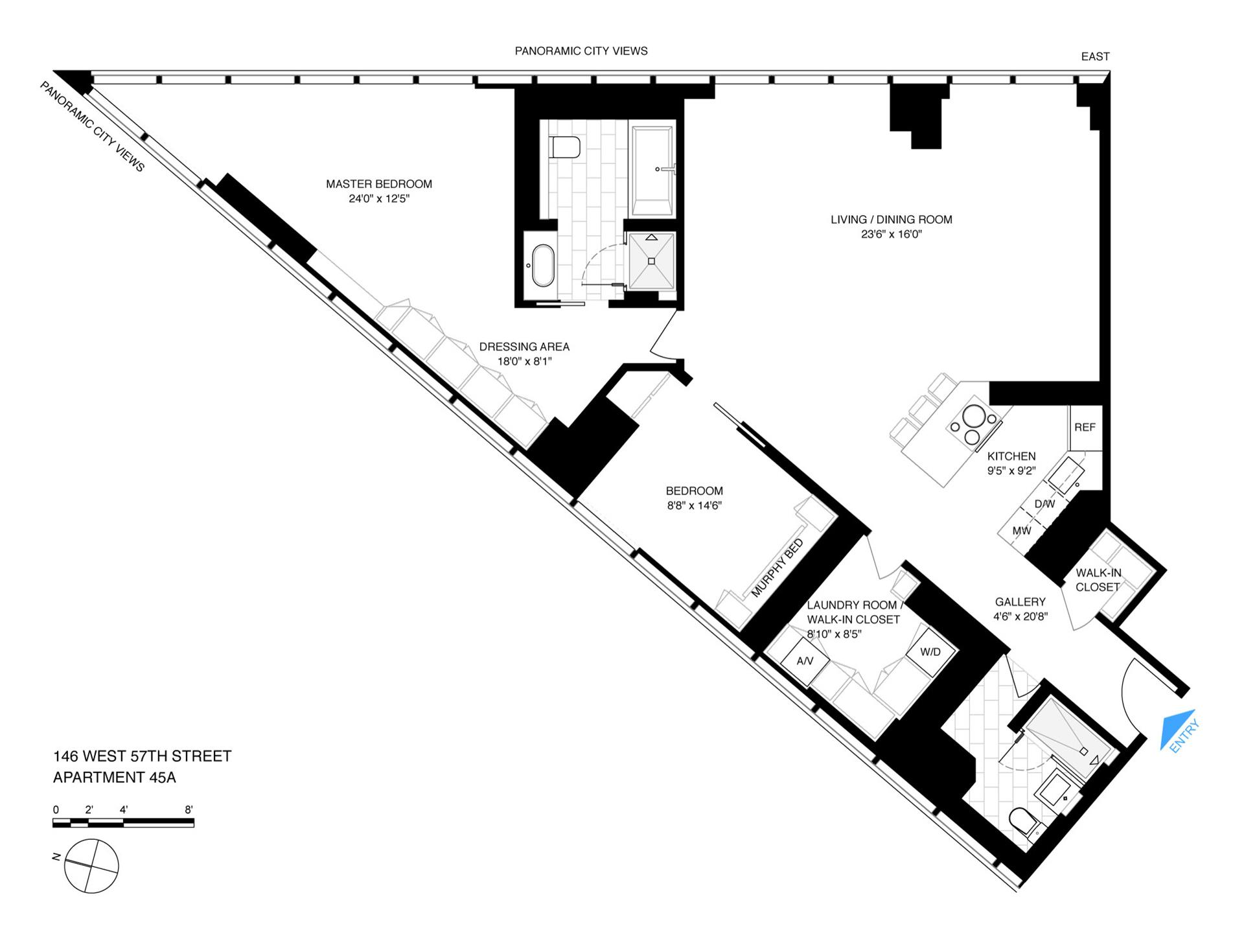 Floor plan of METROPOLITAN TOWER, 146 West 57th St, 45A - Midtown, New York