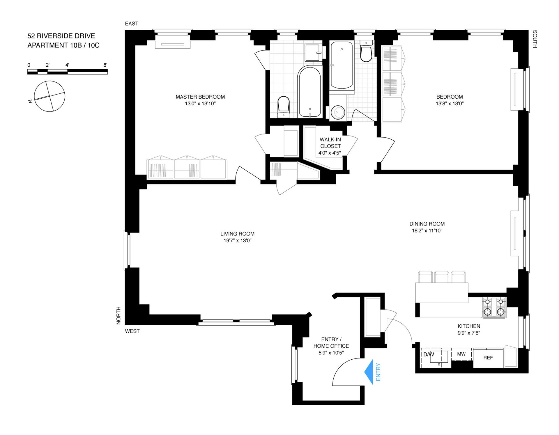 Floor plan of 52 Riverside Drive, 10BC - Upper West Side, New York