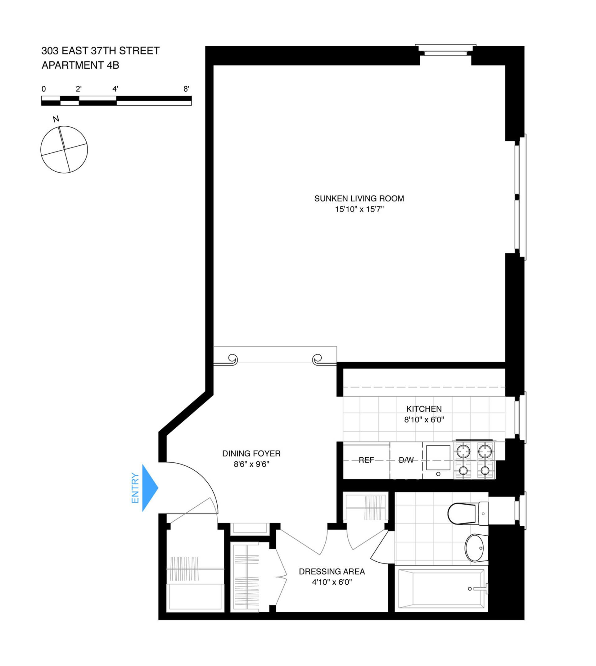 Floor plan of 303 East 37th Street, 4B - Murray Hill, New York