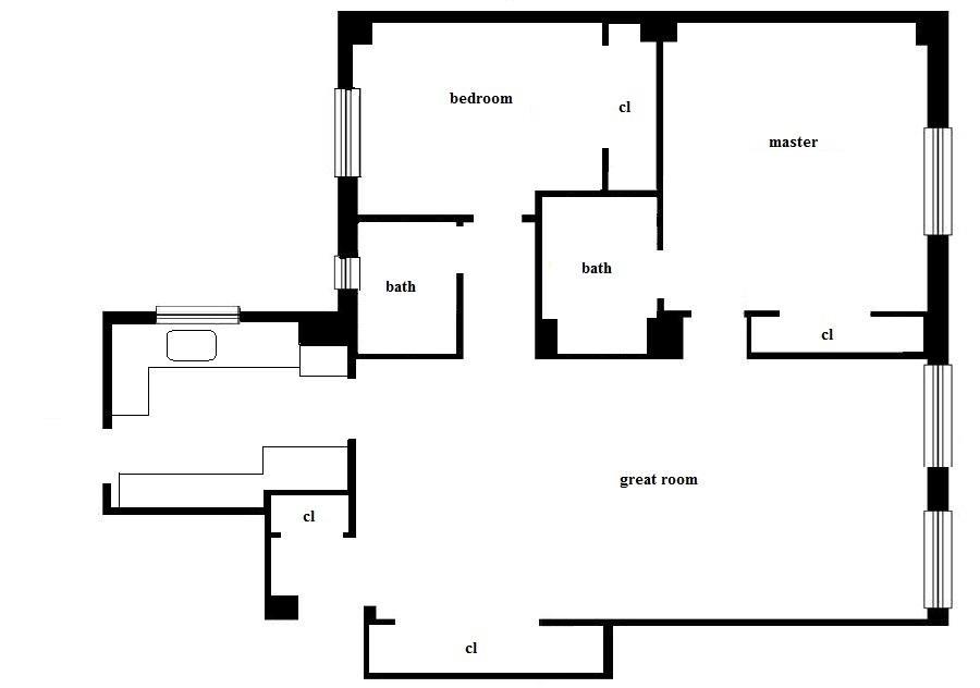 Floor plan of 514 West End Avenue, 3B