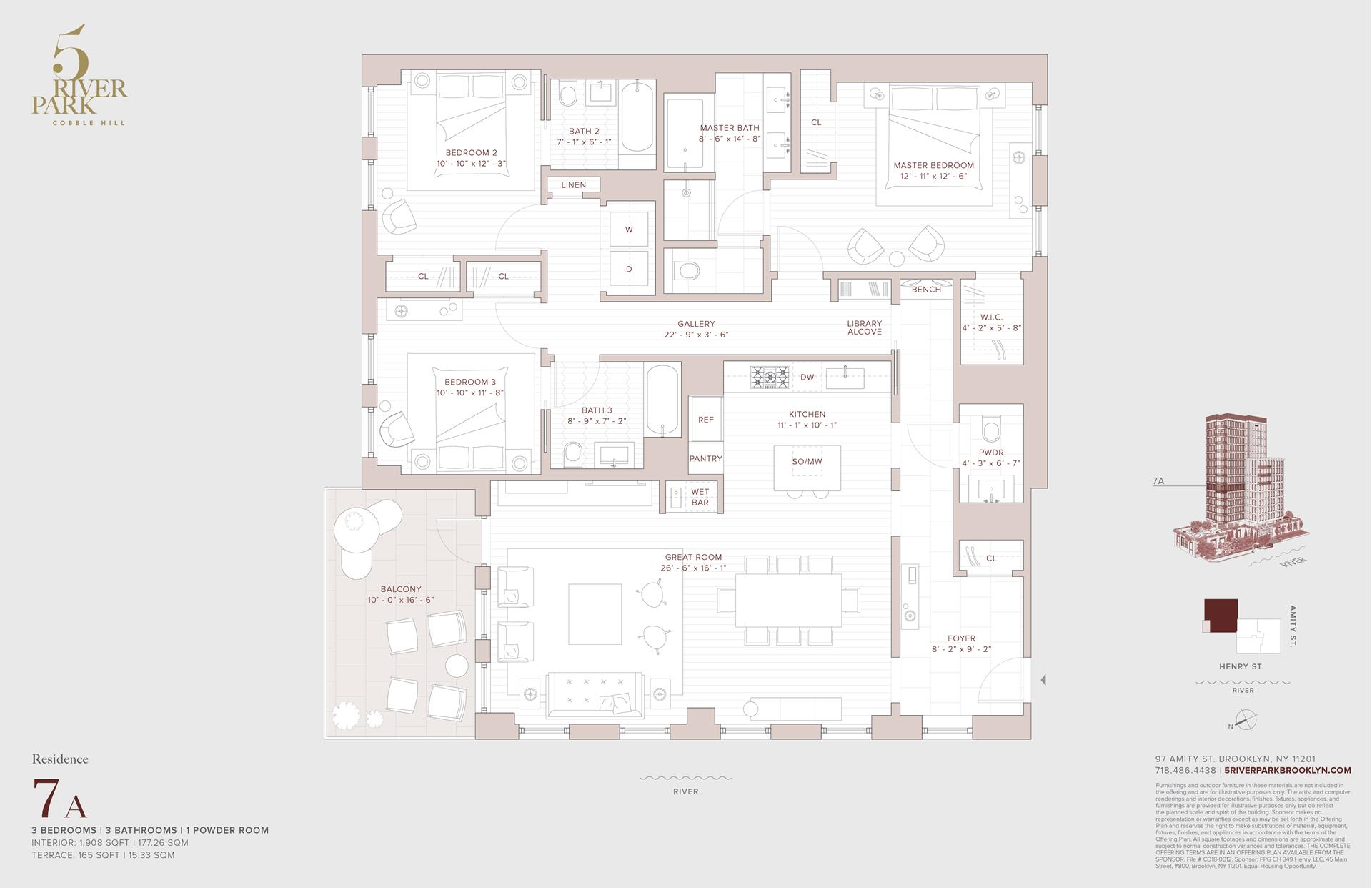 Floor plan of 5 River Park, 347 Henry St, 7A - Cobble Hill, New York