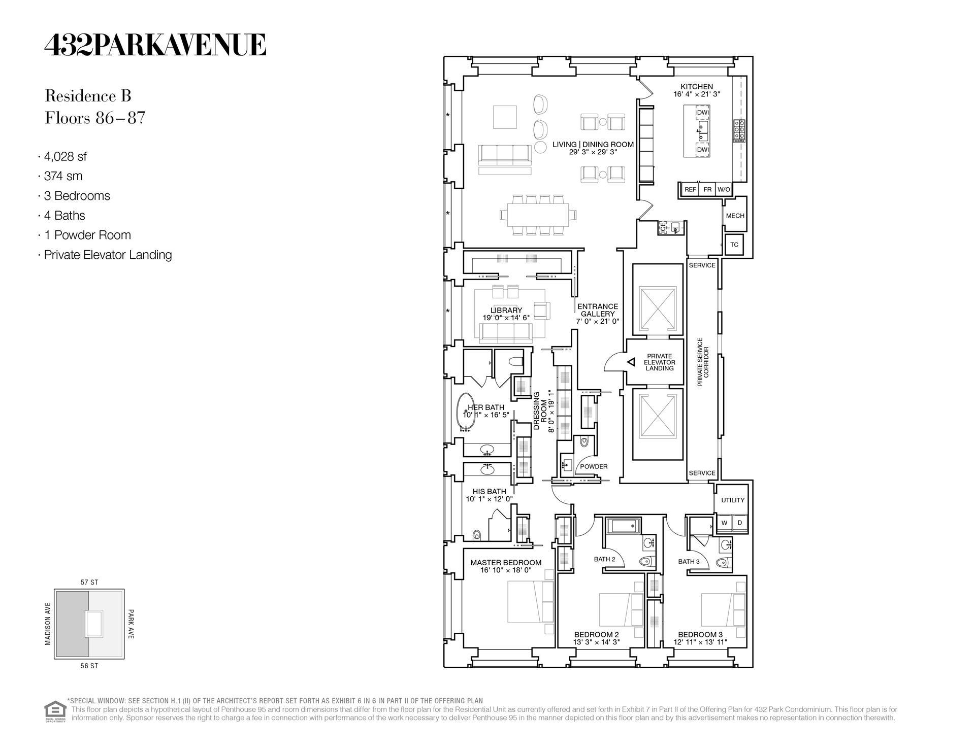 Floor plan of 432 Park Avenue, 86B - Midtown, New York