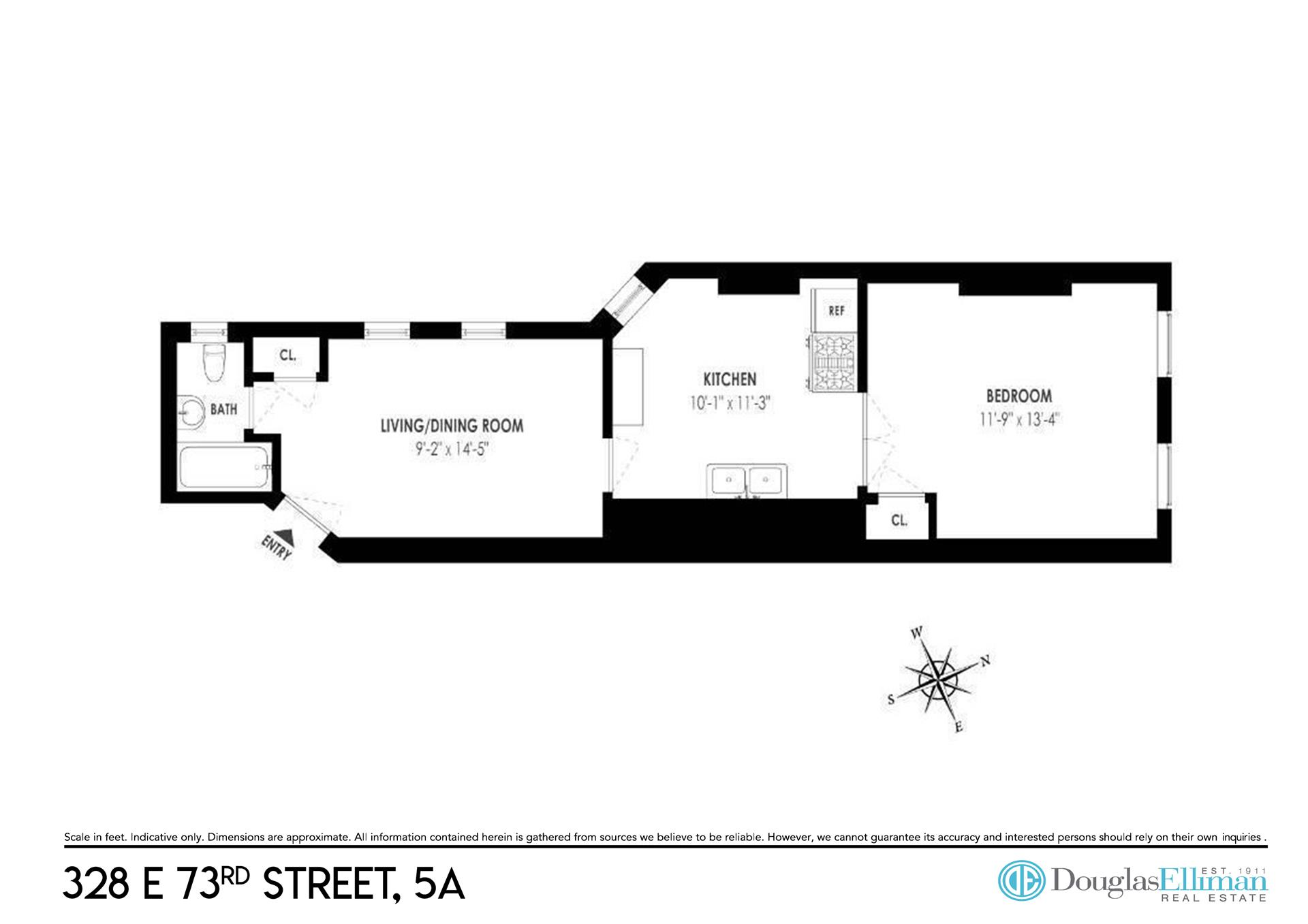 Floor plan of 328 East 73rd Street, 5A - Upper East Side, New York