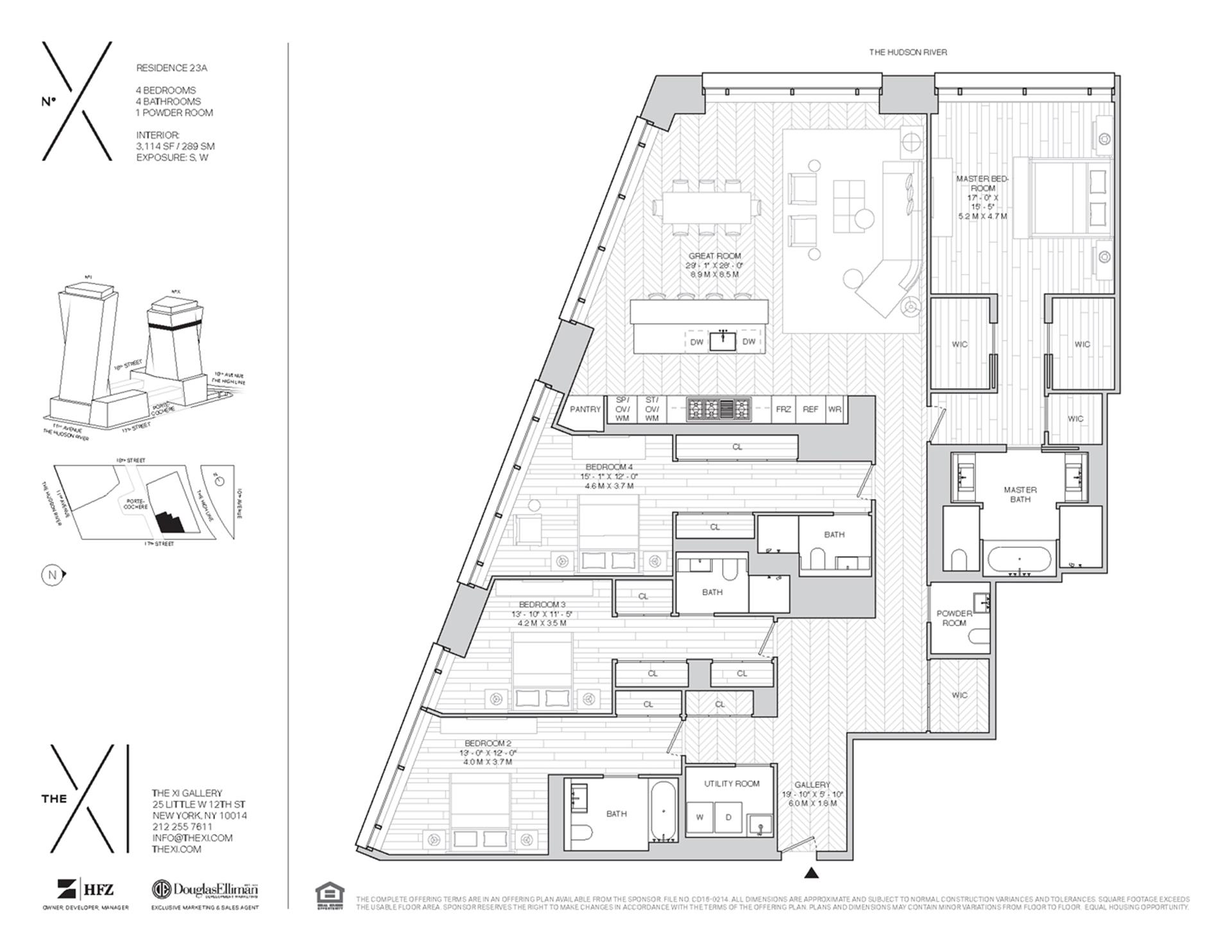 Floor plan of The XI, 76 Eleventh Avenue, X23A - Chelsea, New York
