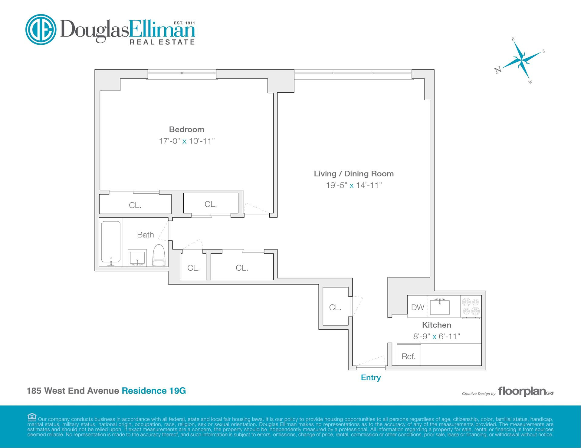 Floor plan of LINCOLN TOWERS, 185 West End Avenue, 19G - Upper West Side, New York