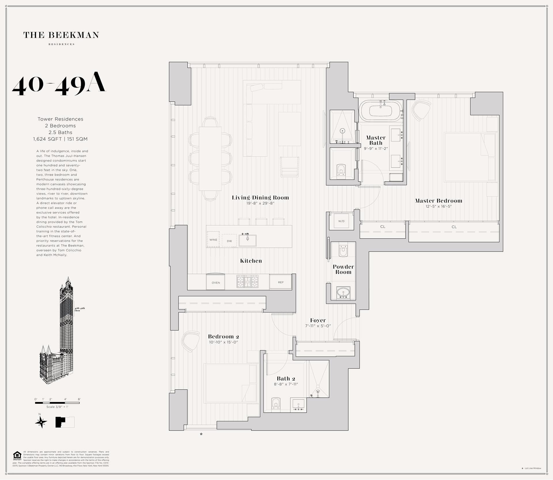 Floor plan of The Beekman Residences, 5 Beekman St, 46A - Financial District, New York