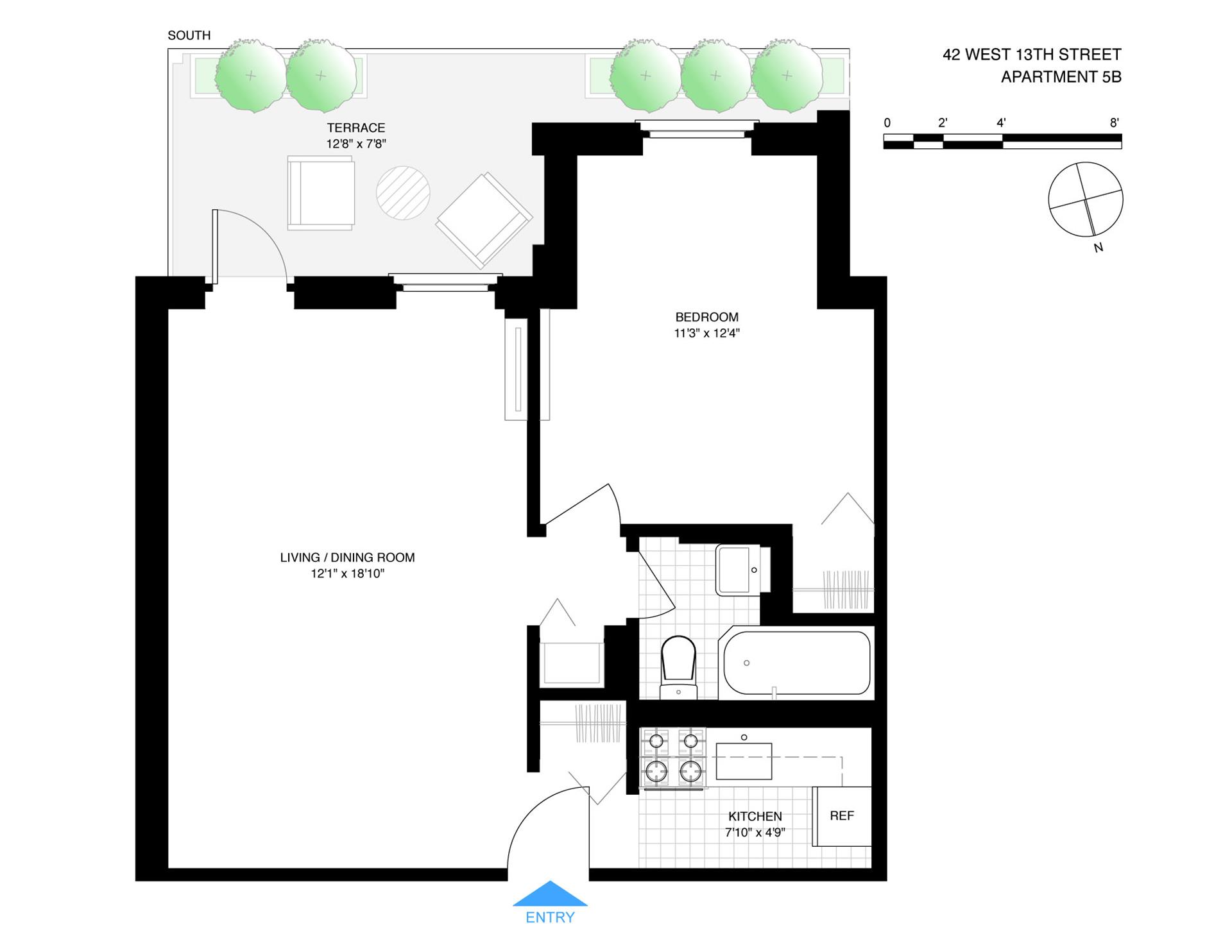 Floor plan of 42 West 13th Street, 5B - Greenwich Village, New York