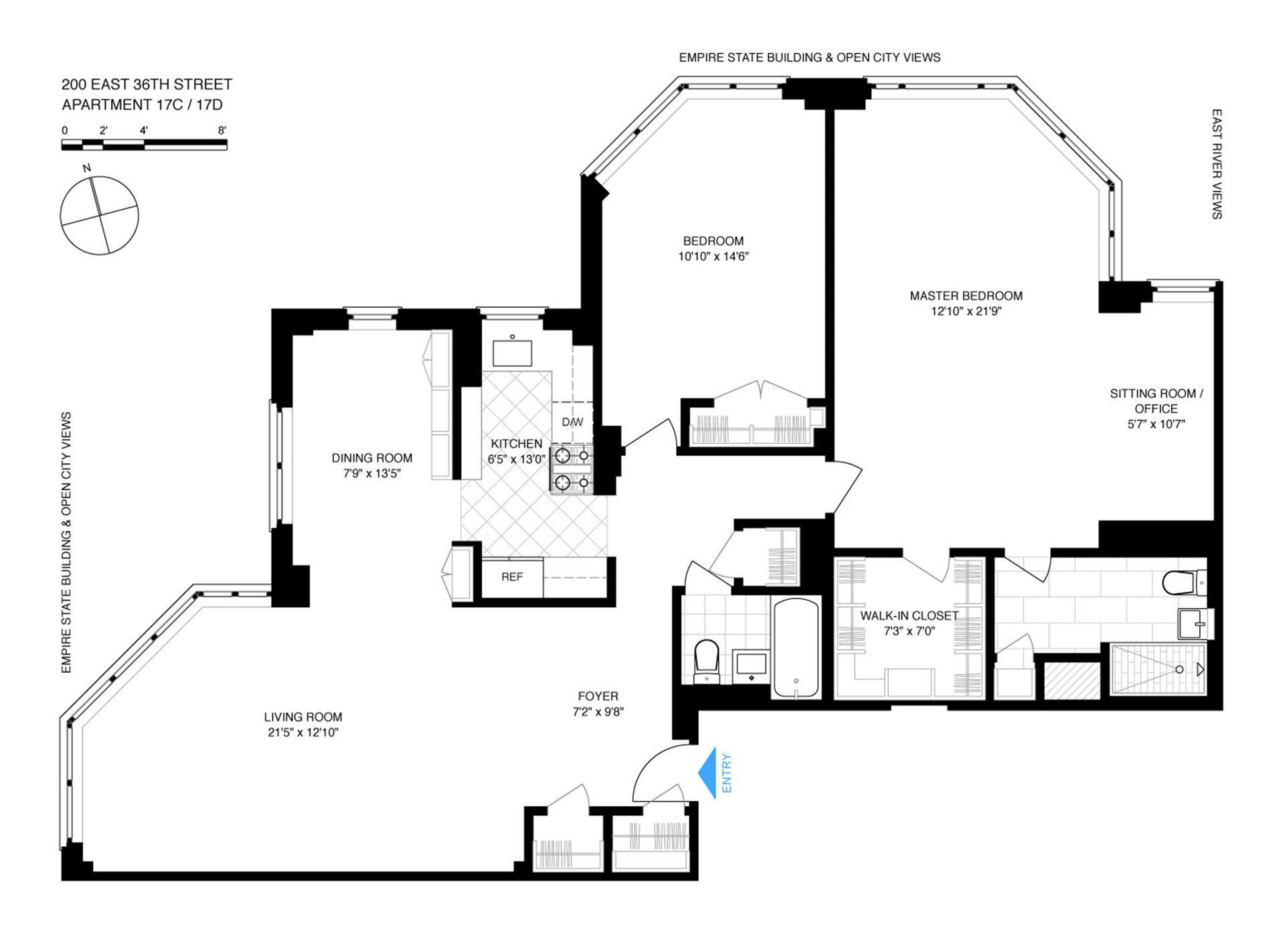 Floor plan of 200 E 36 St Owners Corp, 200 East 36th Street, 17CD - Murray Hill, New York