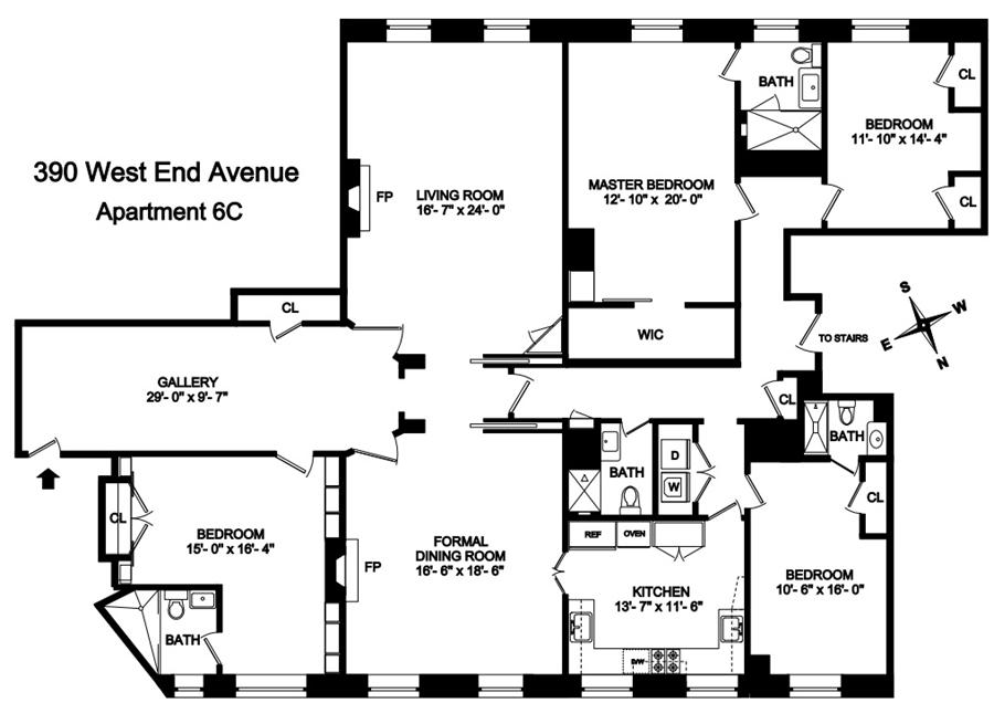 Floor plan of THE APTHORP, 390 West End Avenue, 6C - Upper West Side, New York