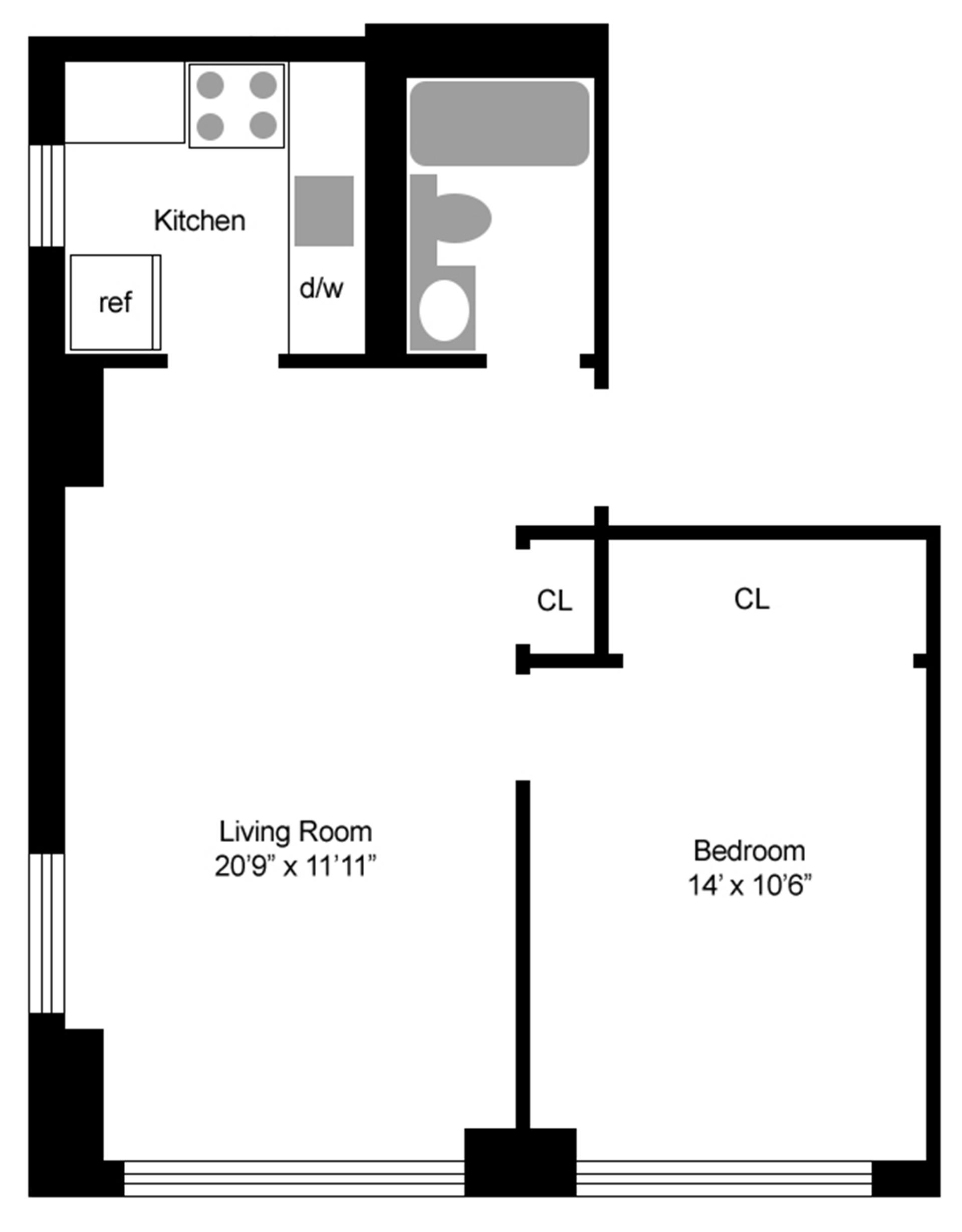 Floor plan of 236 East 47th St, 29C - Turtle Bay, New York