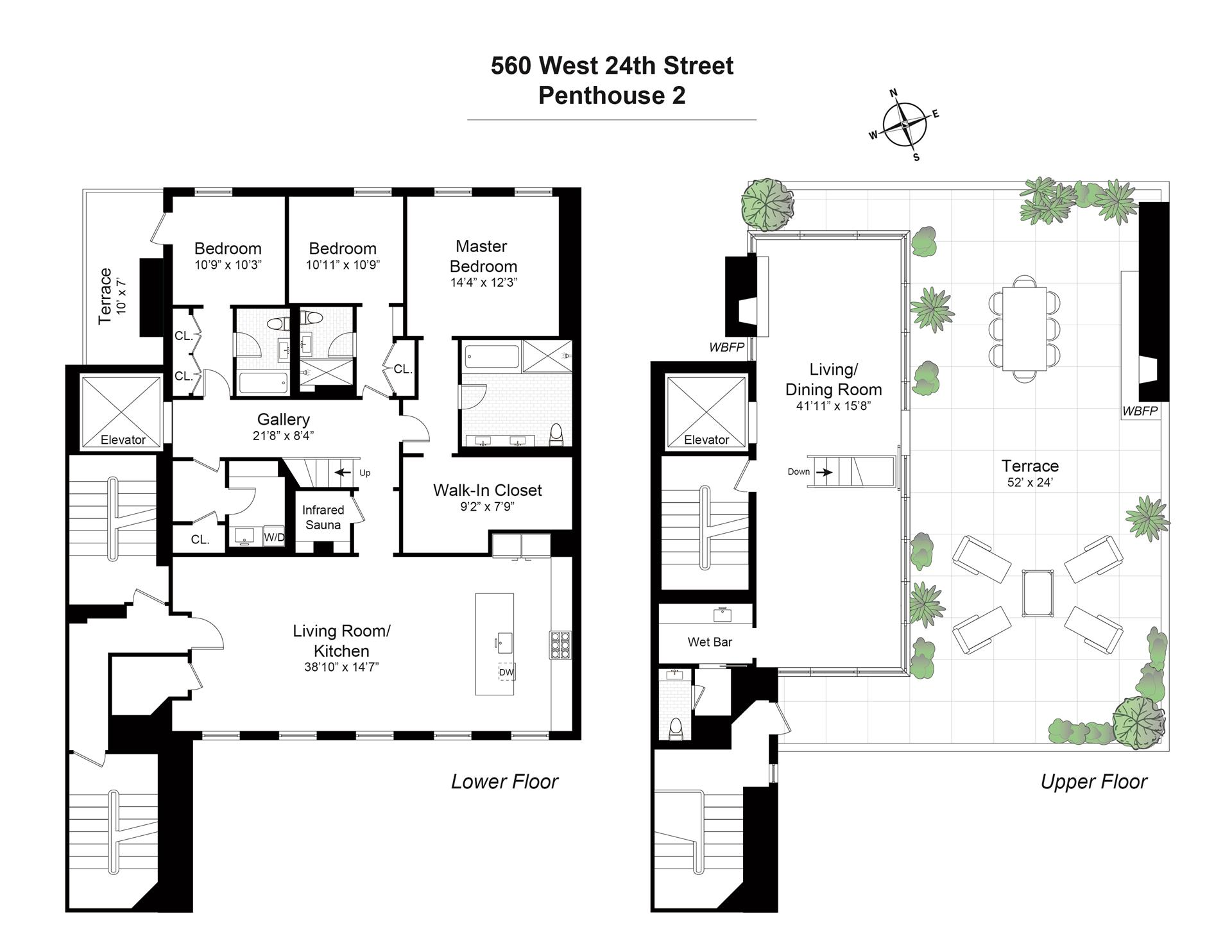 Floor plan of Five Sixty, 560 West 24th St, PH2 - Chelsea, New York