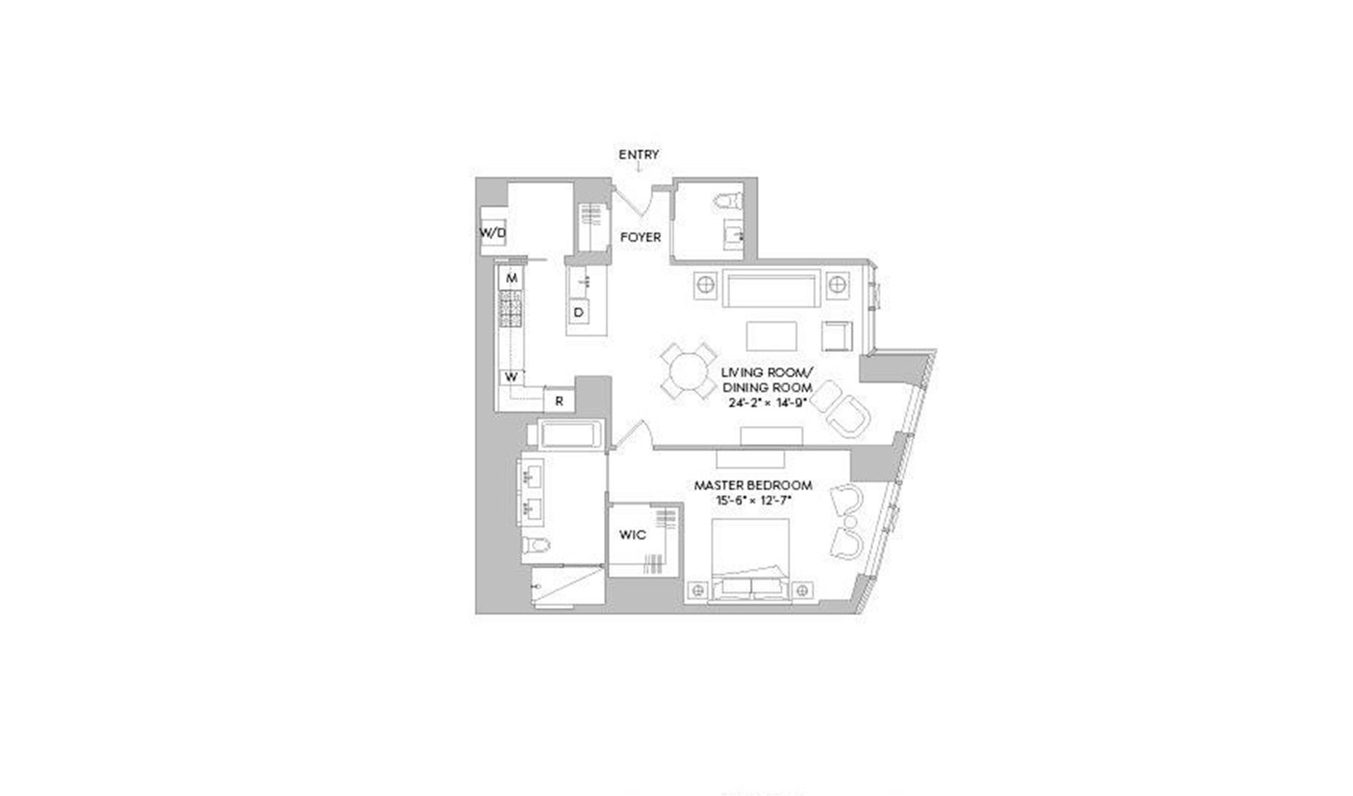 Floor plan of One West End, 1 West End Avenue, 14E - Upper West Side, New York