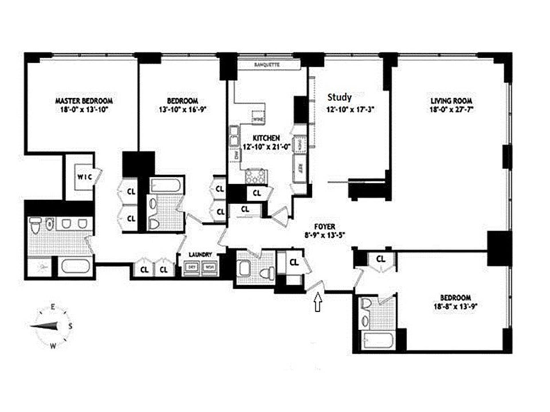 Floor plan of 845 United Nations Plaza, 82B - Turtle Bay, New York