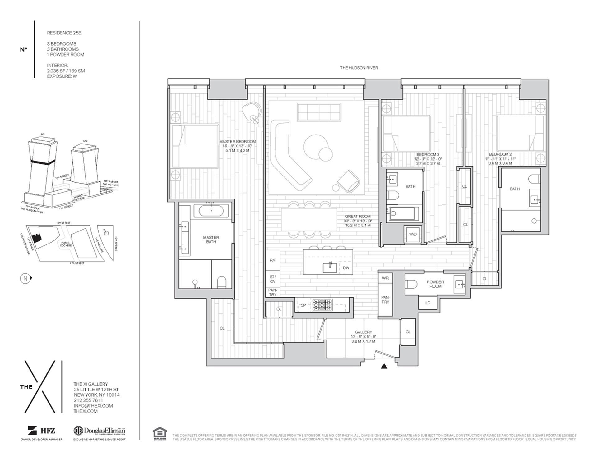 Floor plan of The XI, 76 Eleventh Avenue, 25B - Chelsea, New York