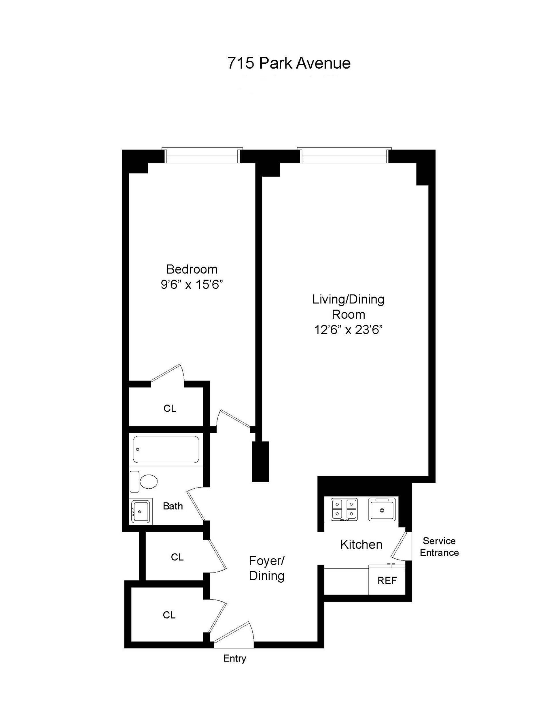 Floor plan of 715 Park Avenue, 4C - Upper East Side, New York