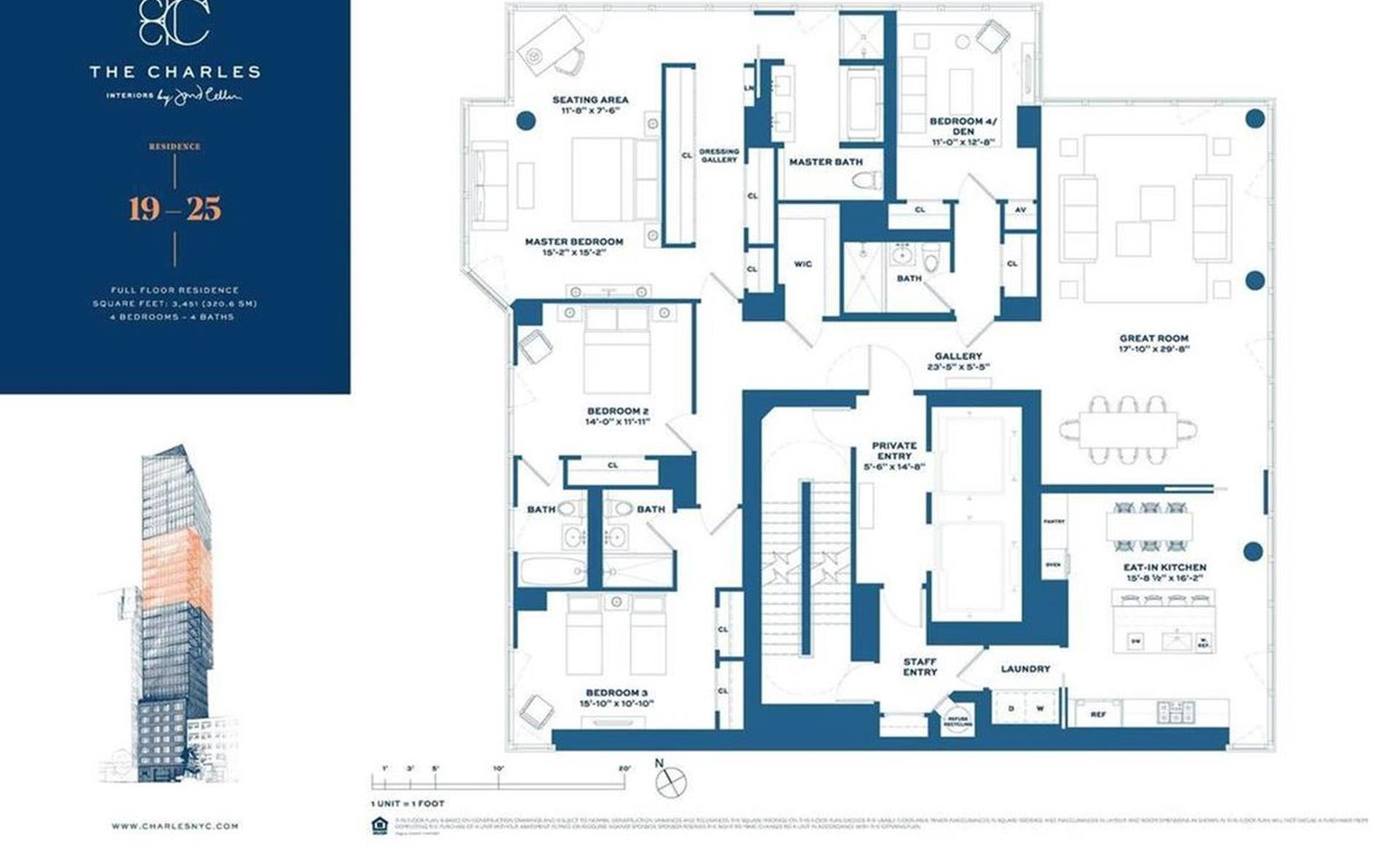 Floor plan of The Charles, 1355 First Avenue, 23FL - Upper East Side, New York