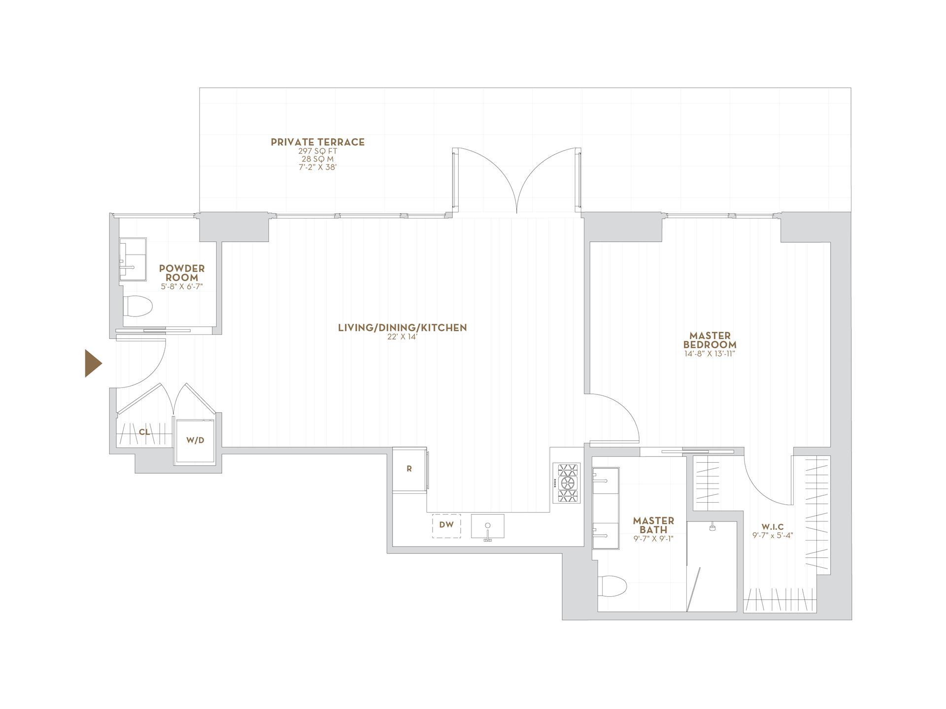 Floor plan of 75 Kenmare Street, 2J - NoHo, New York