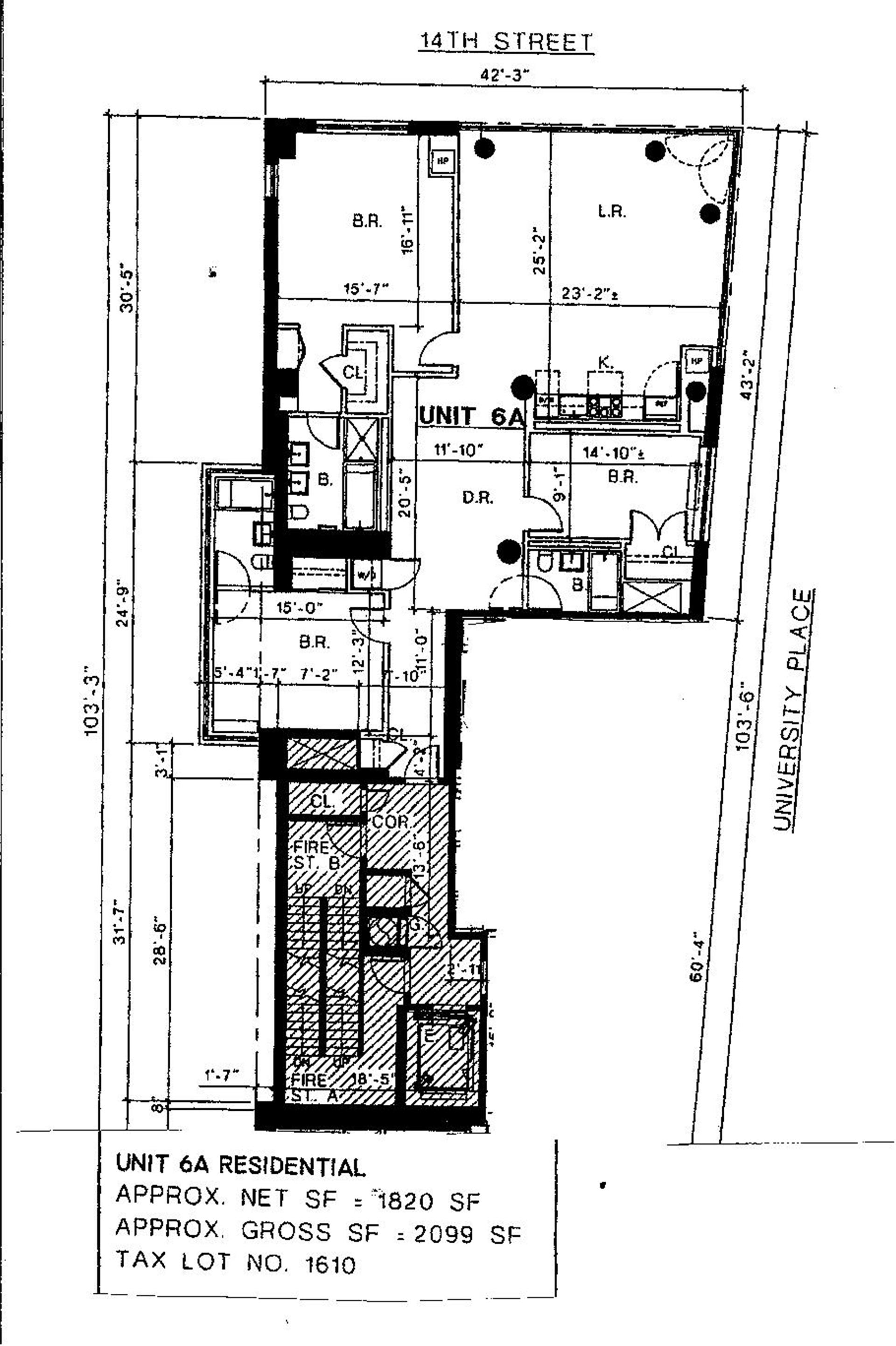 Floor plan of 8 Union Square South, 6A - Greenwich Village, New York