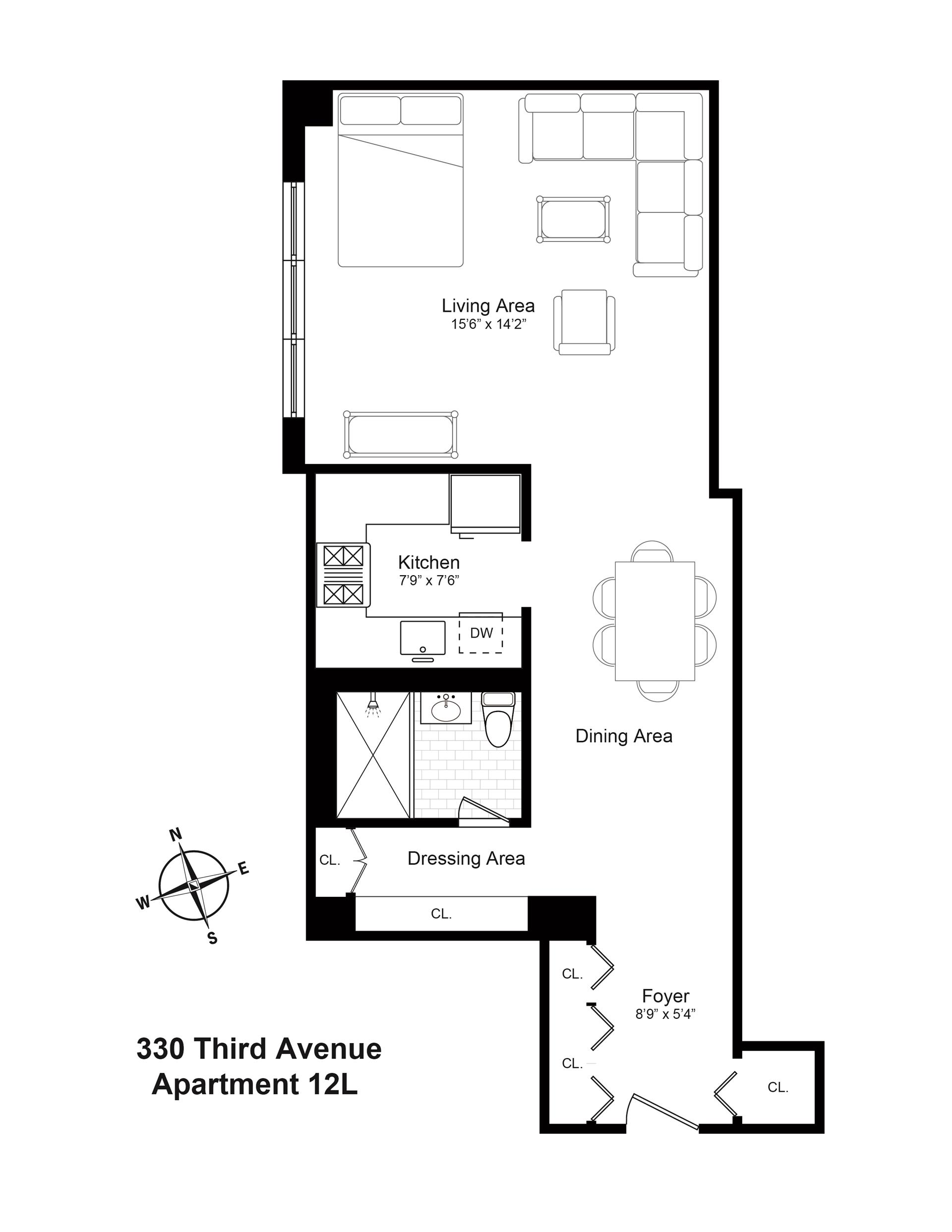 Floor plan of 330 Third Avenue, 12L - Gramercy - Union Square, New York
