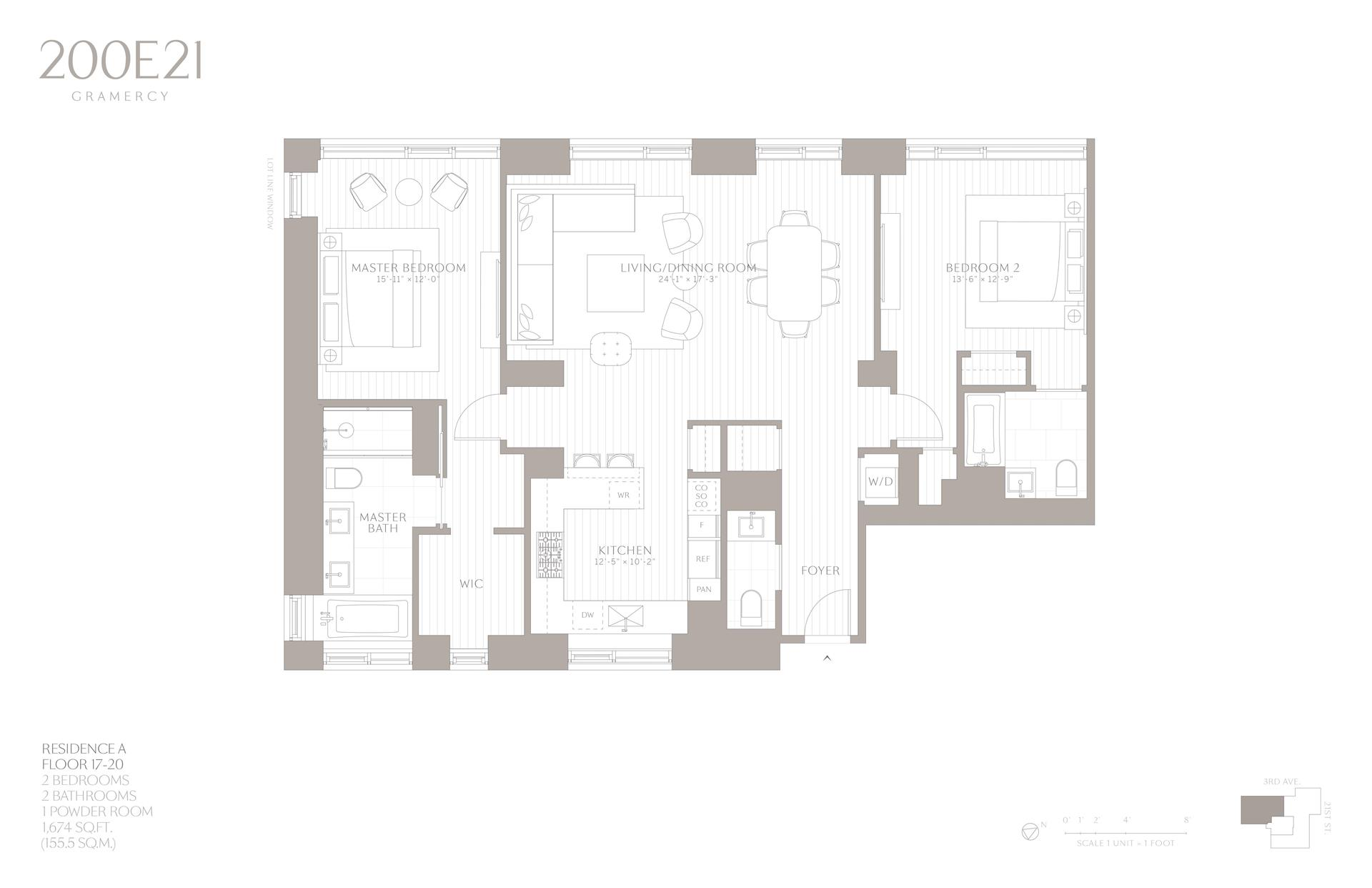 Floor plan of 200 East 21st Street, 20A - Gramercy - Union Square, New York