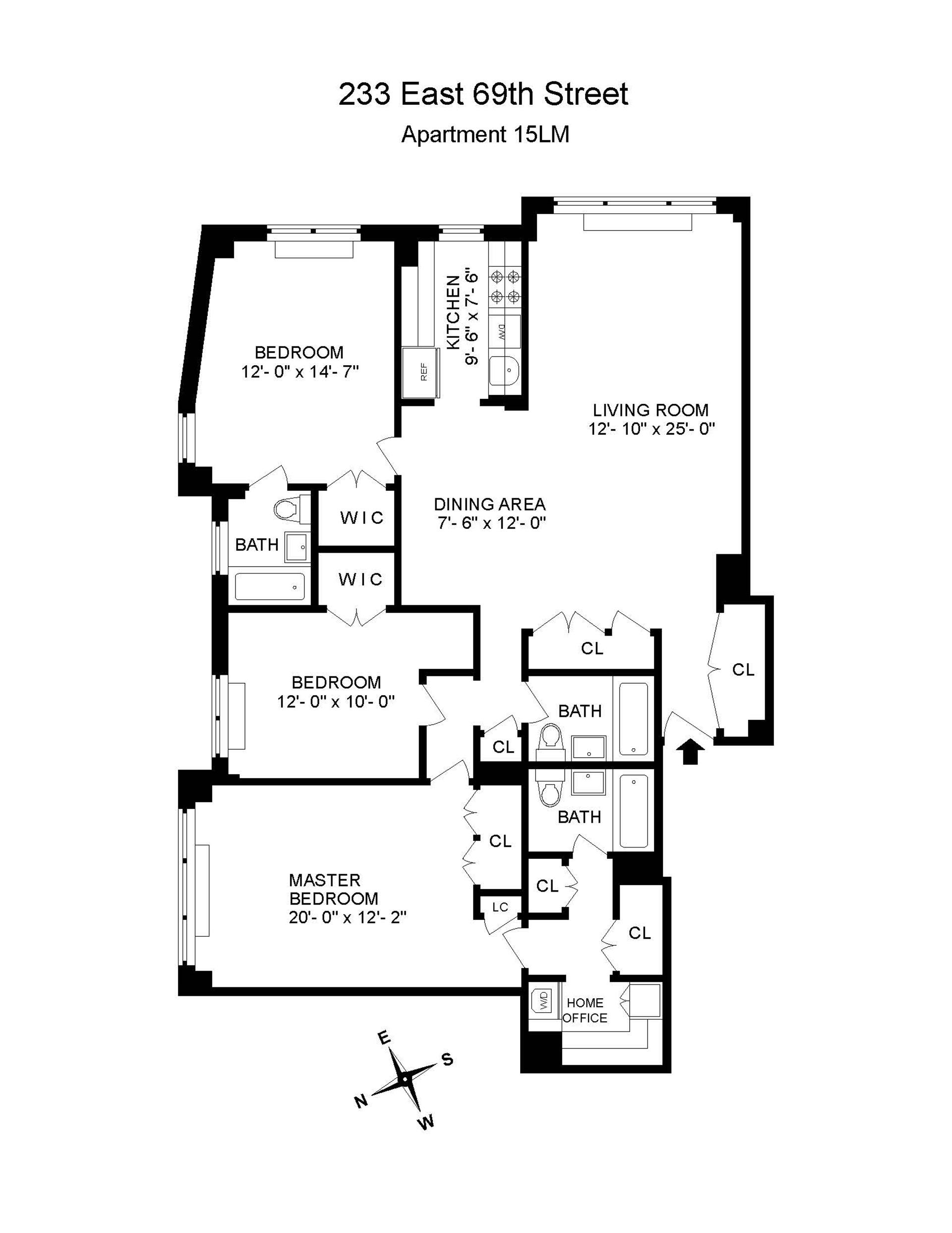 Floor plan of 233 East 69th Street, 15LM - Upper East Side, New York