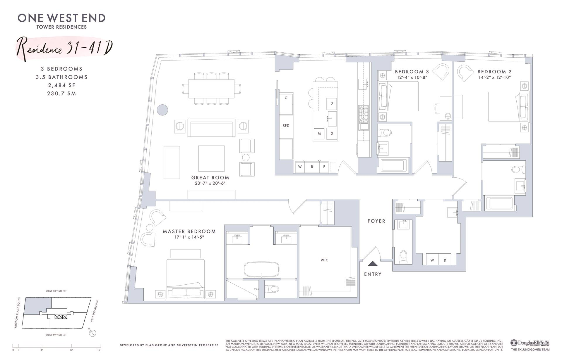 Floor plan of One West End, 1 West End Avenue, 37D - Upper West Side, New York