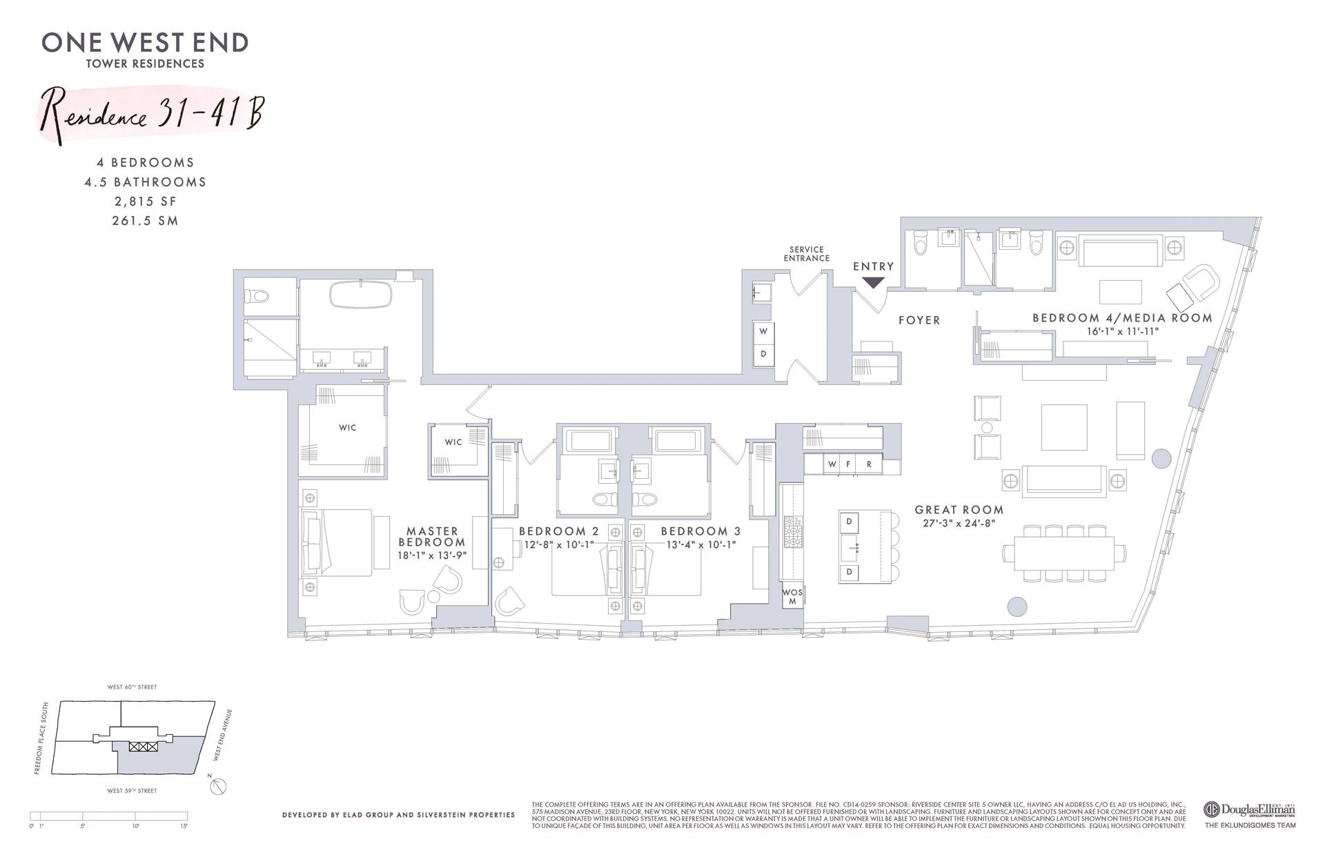 Floor plan of One West End, 1 West End Avenue, 37B - Upper West Side, New York