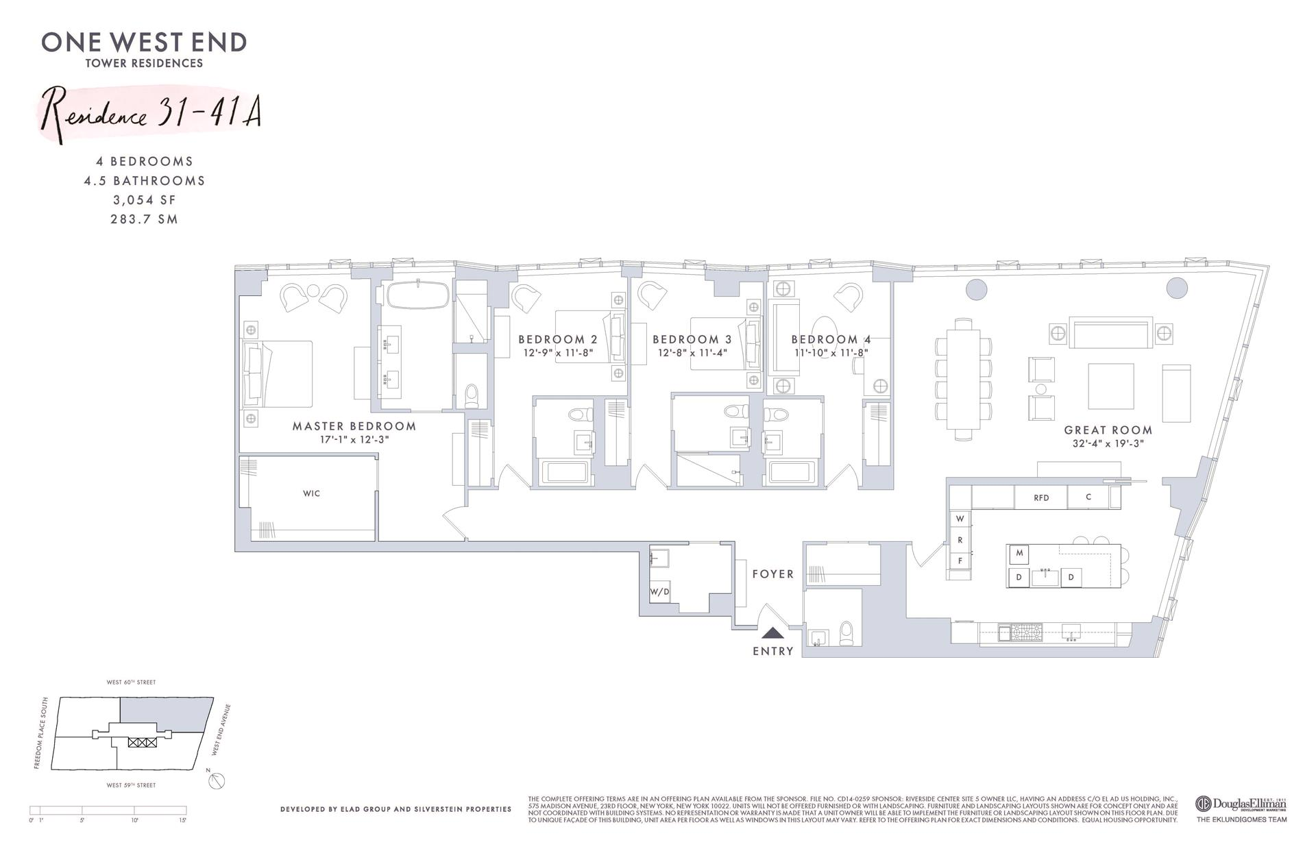 Floor plan of One West End, 1 West End Avenue, 38A - Upper West Side, New York