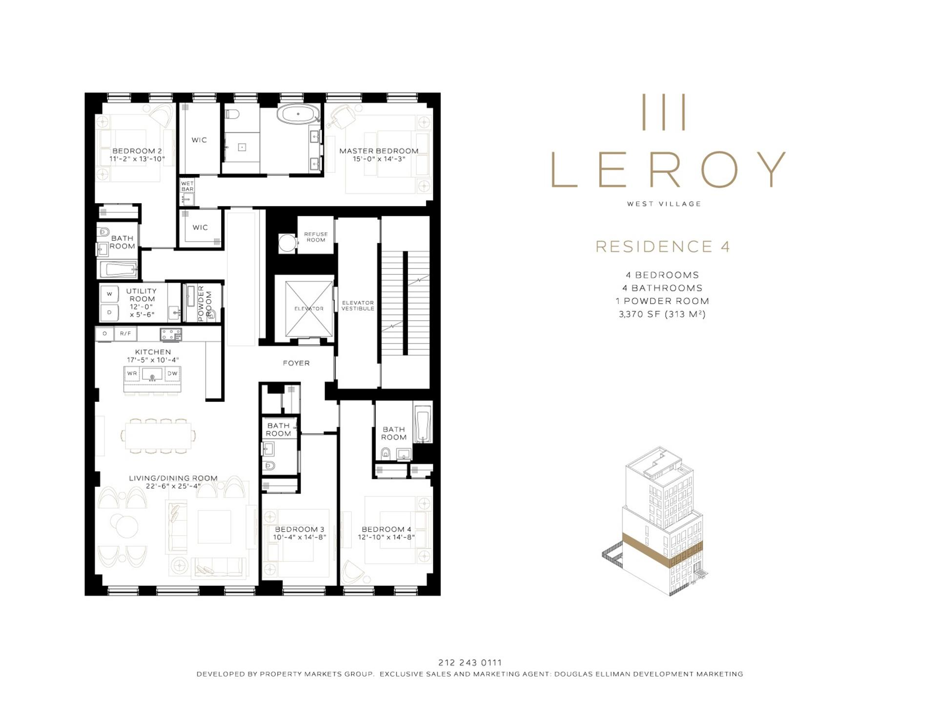 Floor plan of 111 Leroy St, 4 - West Village - Meatpacking District, New York