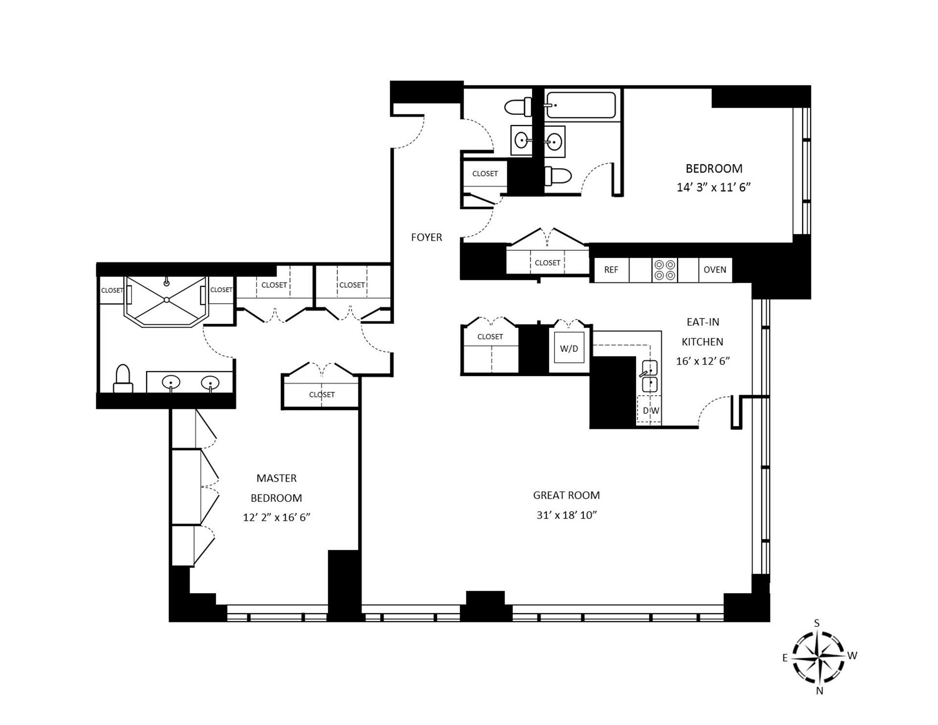 Floor plan of 1 Central Park West, 33G - Upper West Side, New York