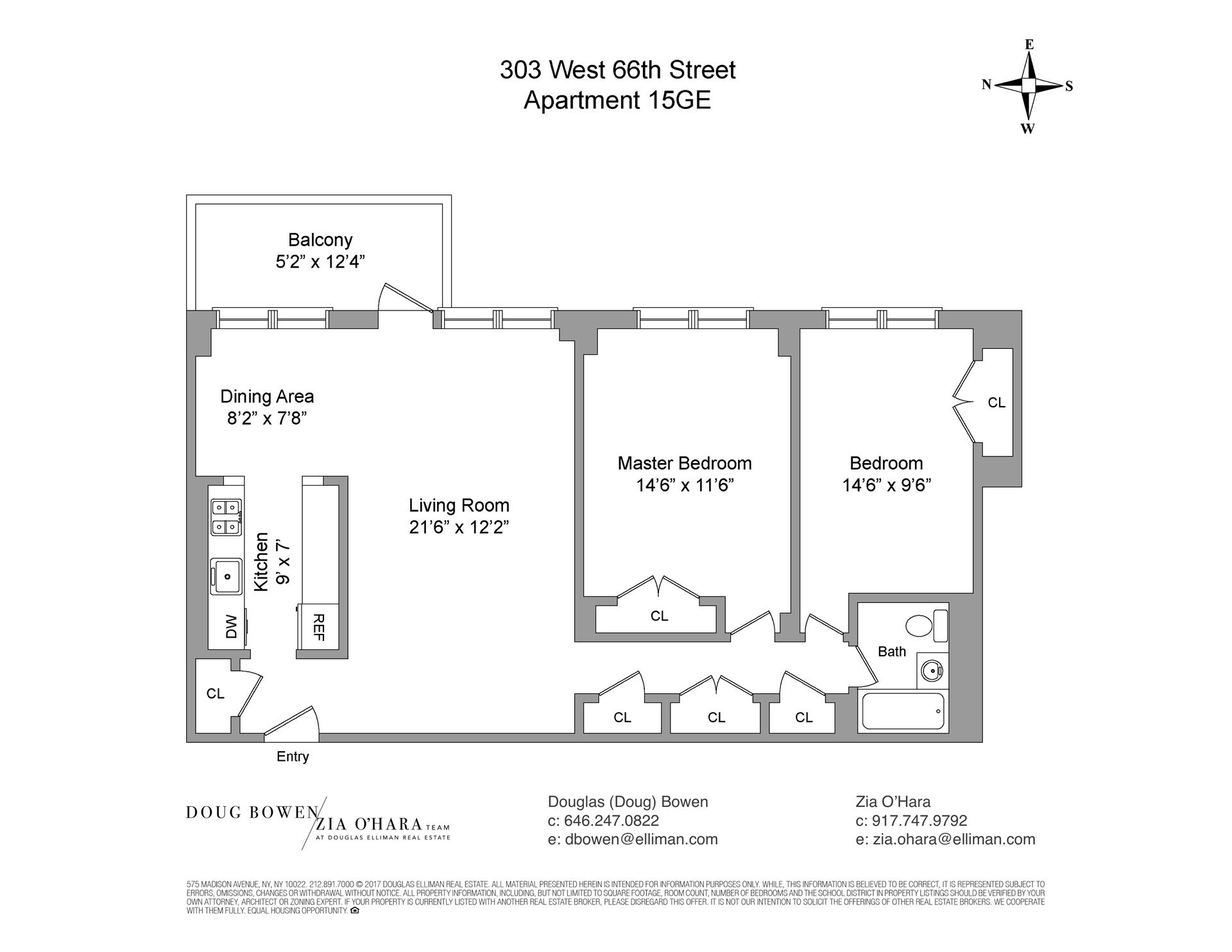 Floor plan of Lincoln Guild Housing Corp, 303 West 66th Street, 15GE - Upper West Side, New York