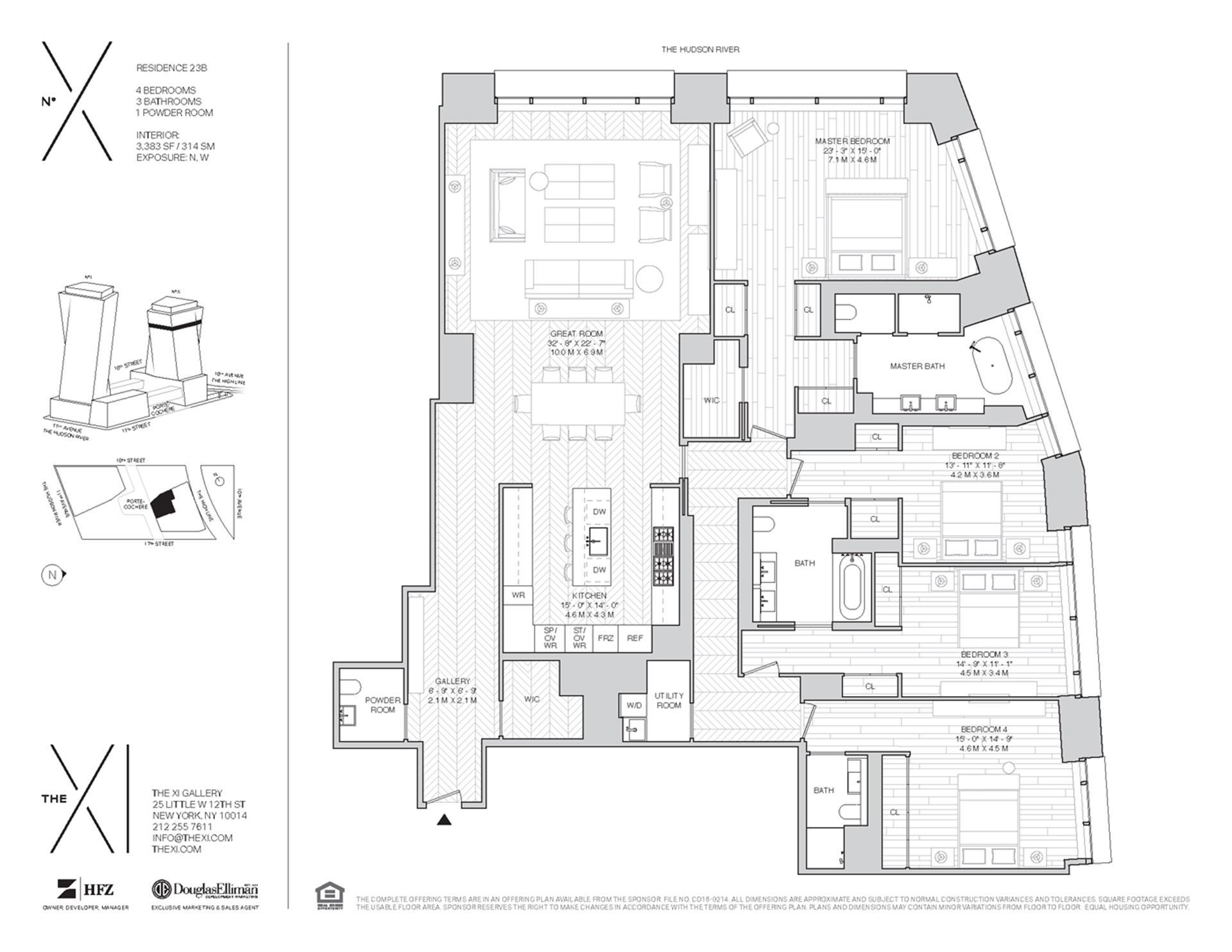 Floor plan of The XI, 76 Eleventh Avenue, X23B - Chelsea, New York