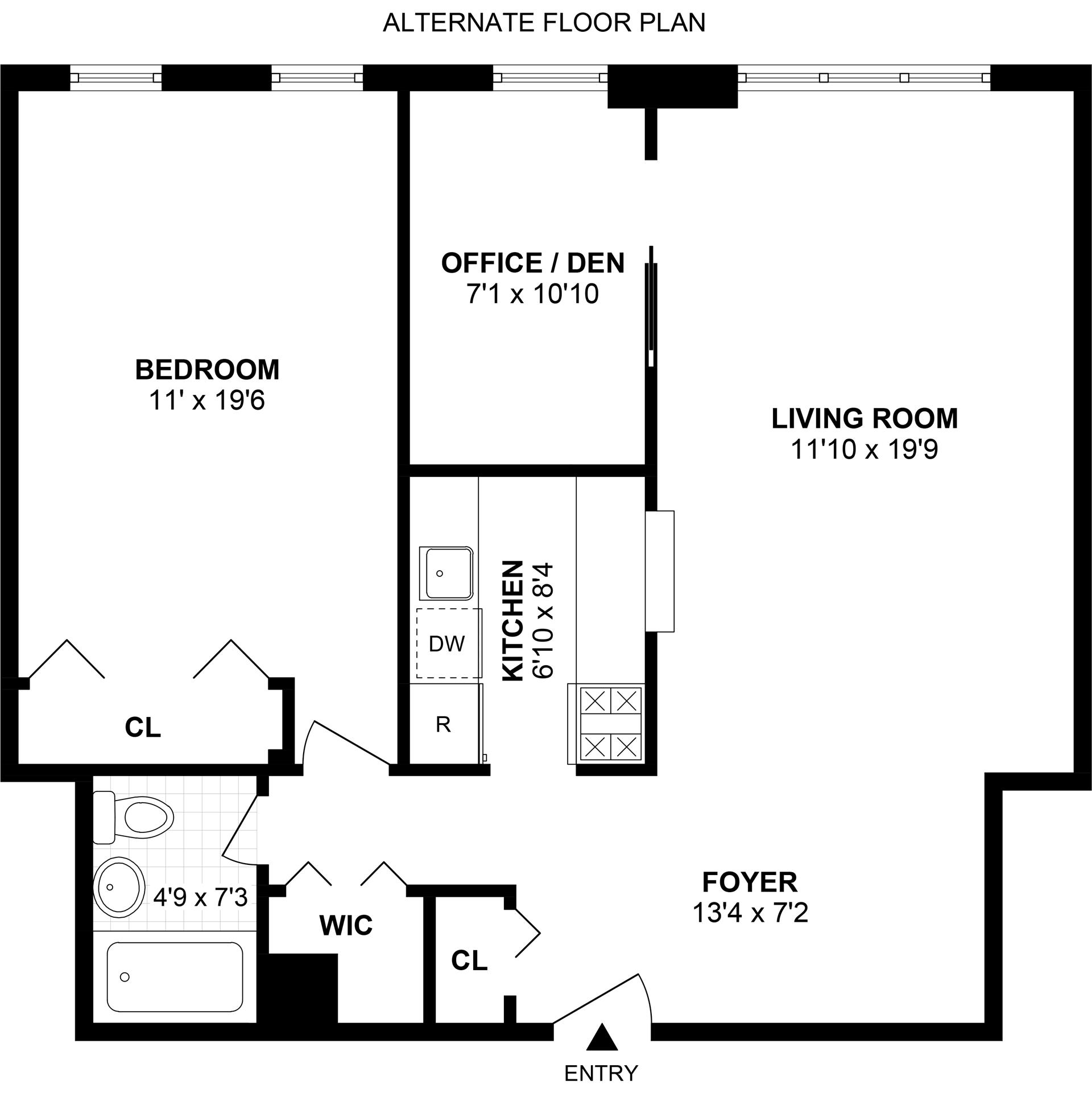 Floor plan of 400 East 17th Street, 708 - Ditmas Park, New York