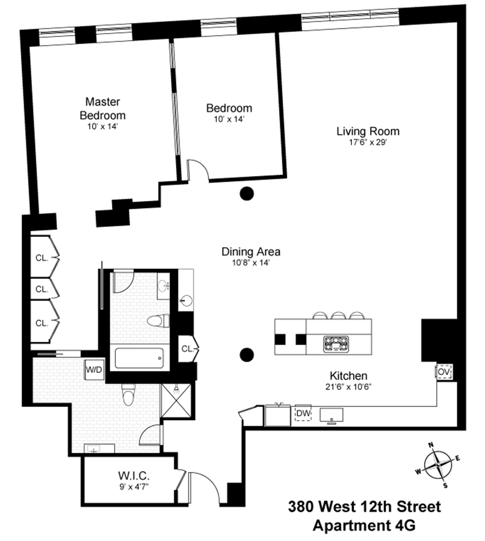 Floor plan of 380 West 12th Street, 4G - West Village - Meatpacking District, New York