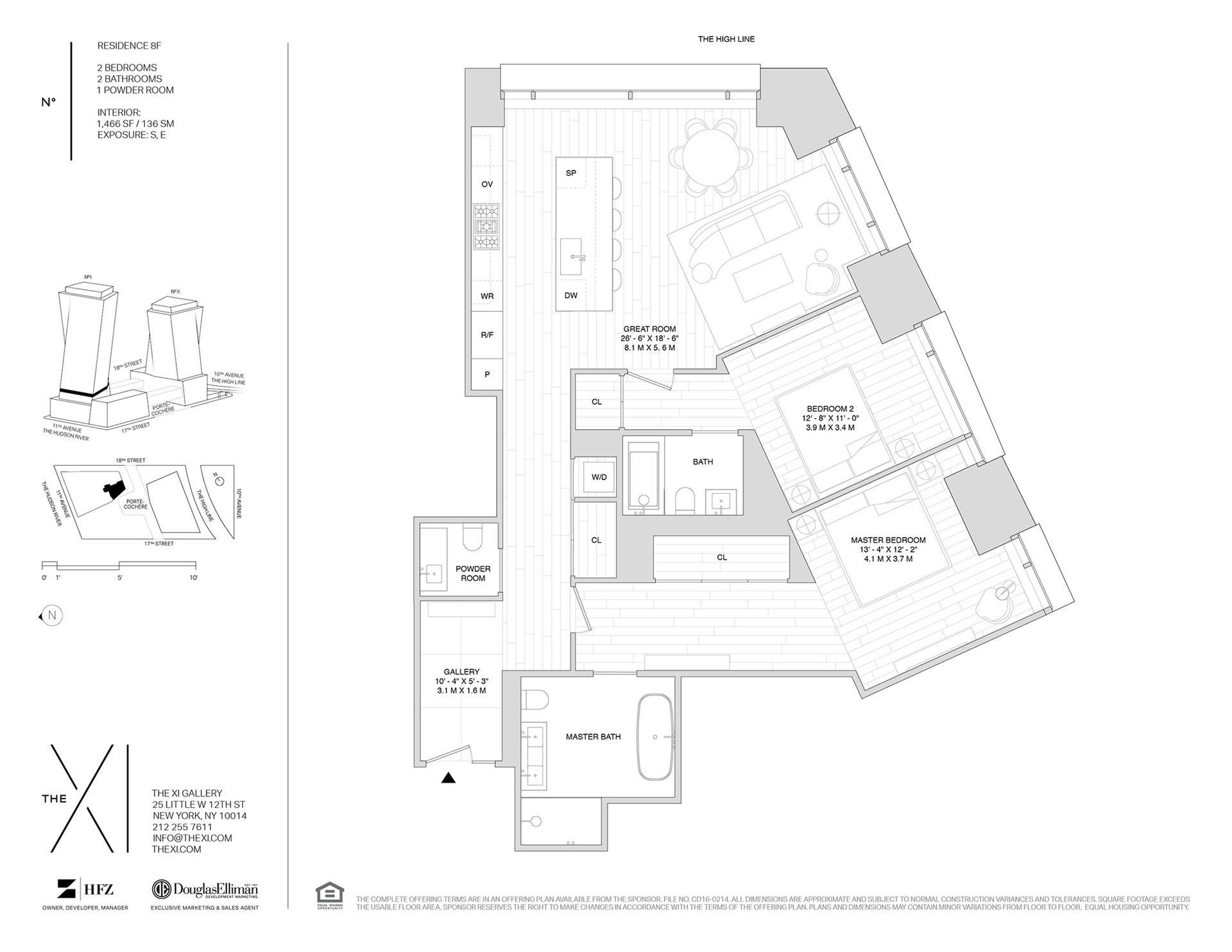 Floor plan of The XI, 76 Eleventh Avenue, 8F - Chelsea, New York