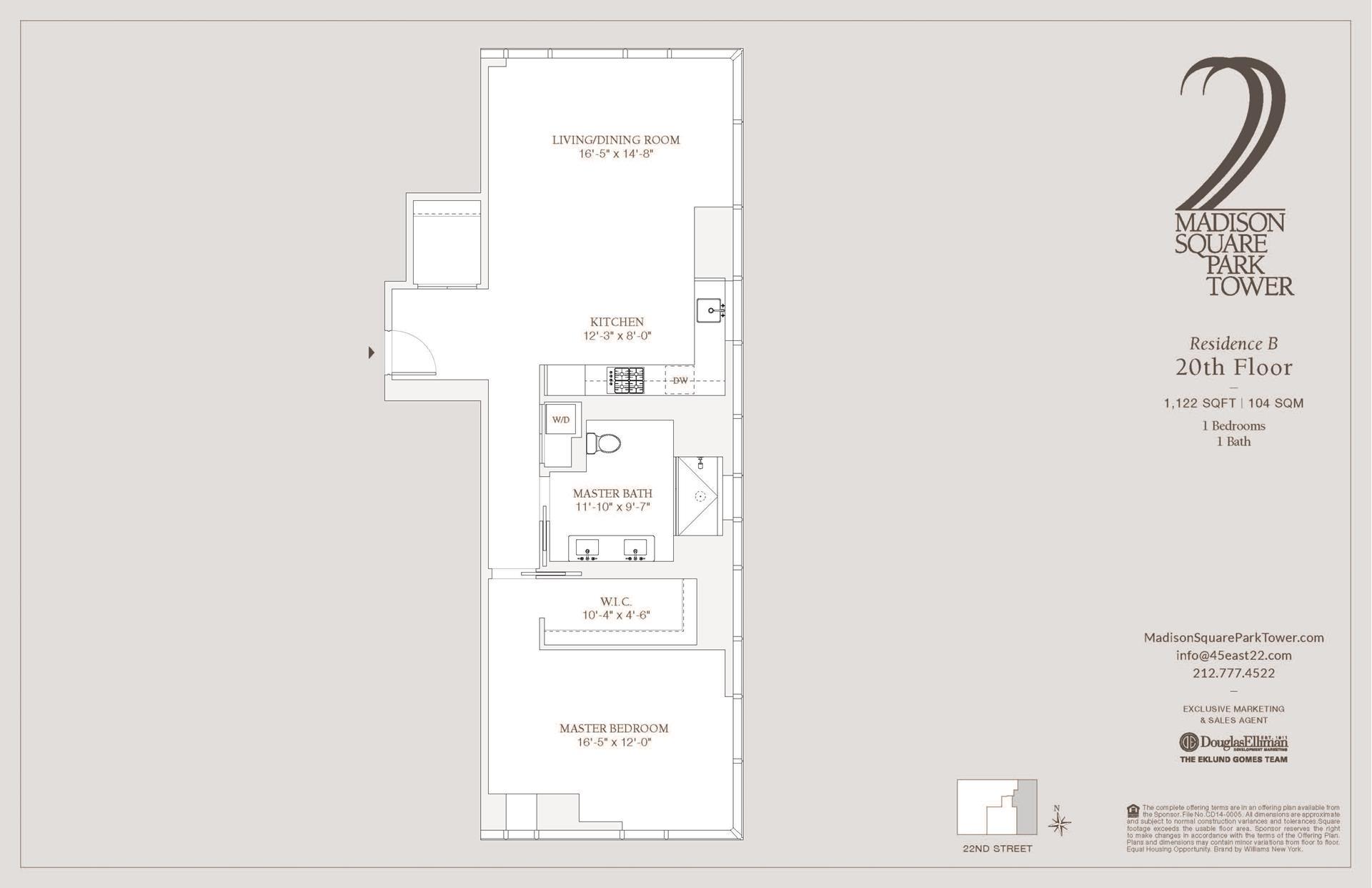 Floor plan of Madison Square Park Tower, 45 East 22nd Street, 20B - Flatiron District, New York