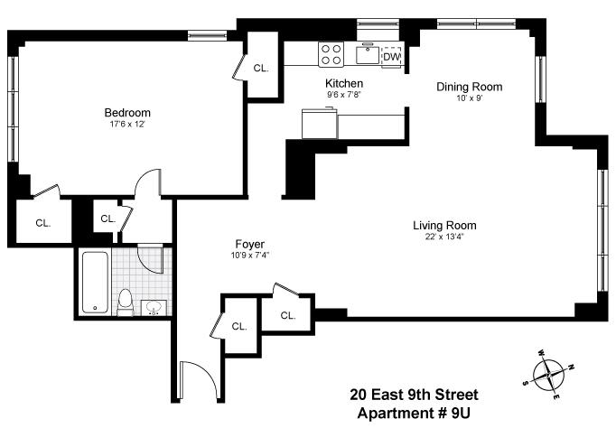 Floor plan of BREVOORT EAST, 20 East 9th St, 9U - Greenwich Village, New York