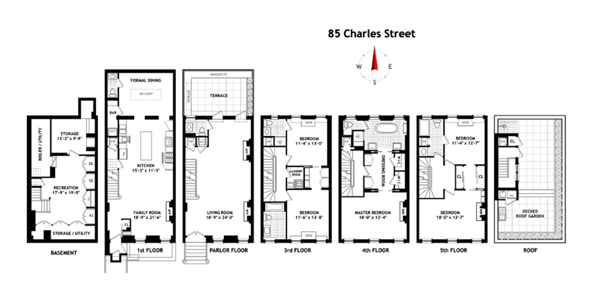 Floor plan of 85 Charles St - West Village - Meatpacking District, New York