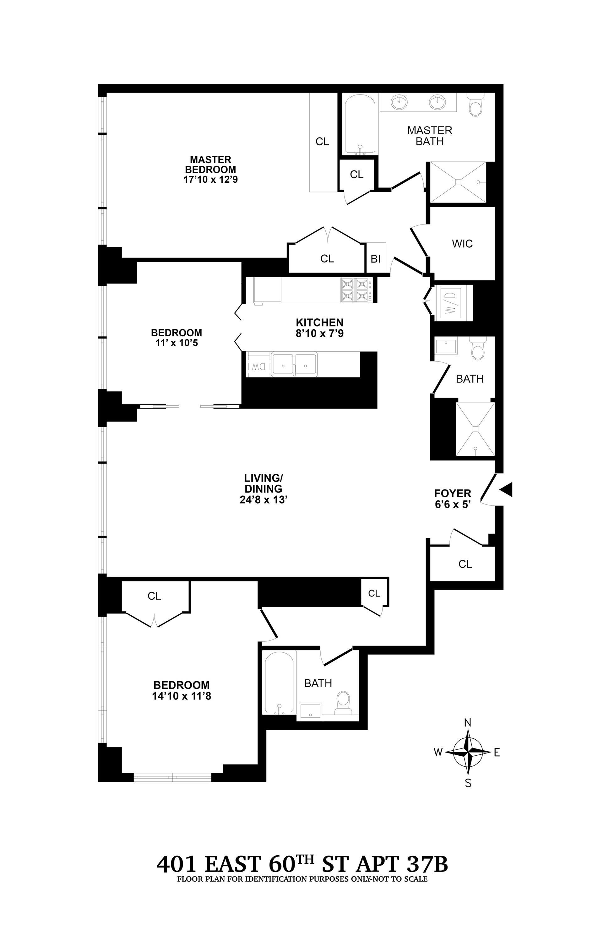 Floor plan of 401 East 60th Street, 37B - Upper East Side, New York