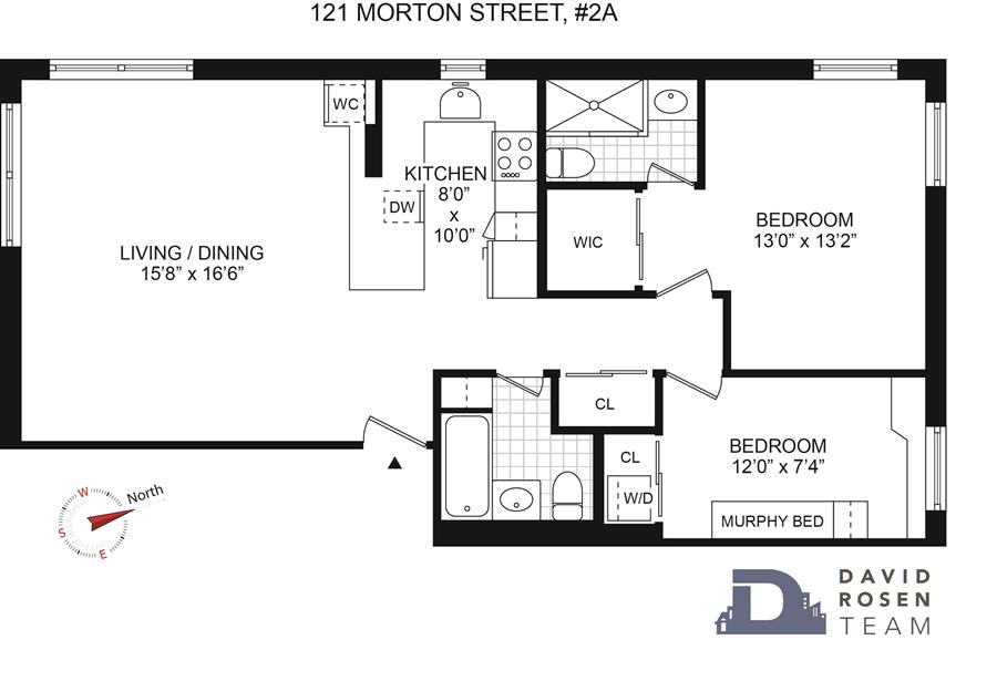 Floor plan of 121 Morton St, 2A - West Village - Meatpacking District, New York
