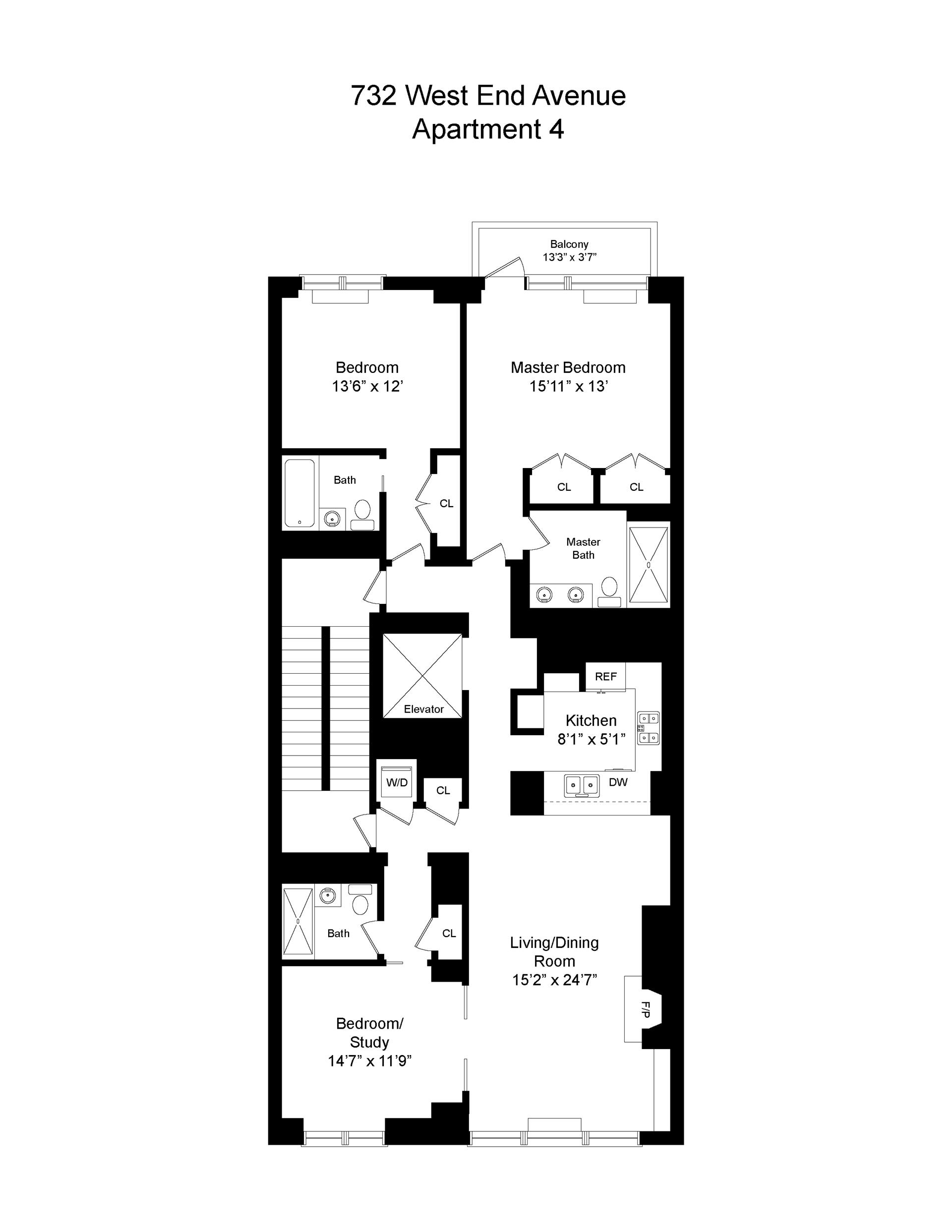Floor plan of 732 West End Avenue, 4THFL - Upper West Side, New York
