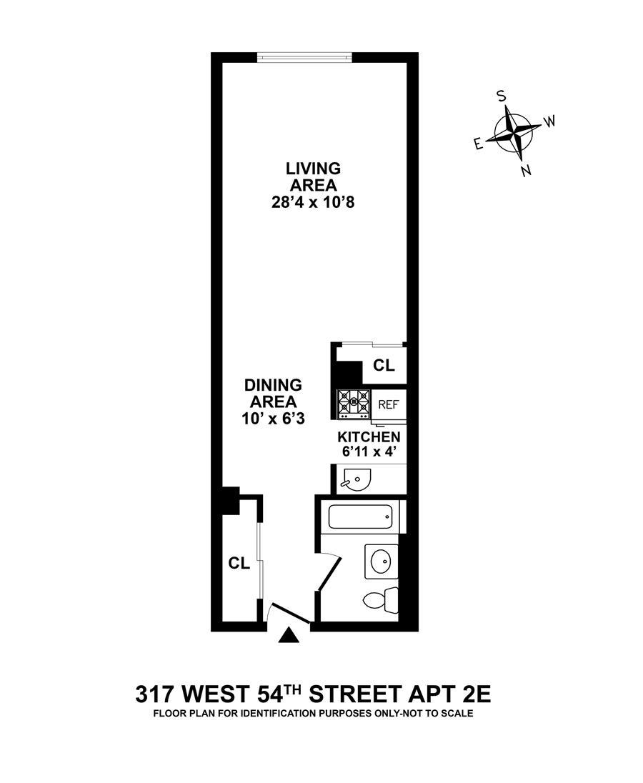 Floor plan of 317 West 54th Street, 2E - Clinton, New York
