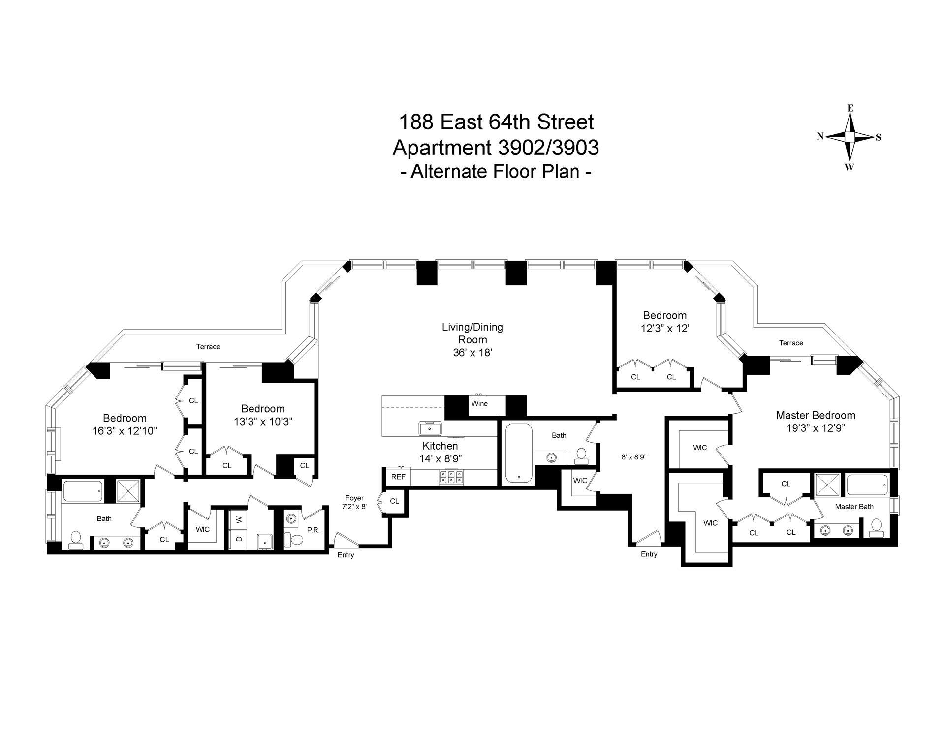 Floor plan of The Royale, 188 East 64th Street, 3902/03 - Upper East Side, New York