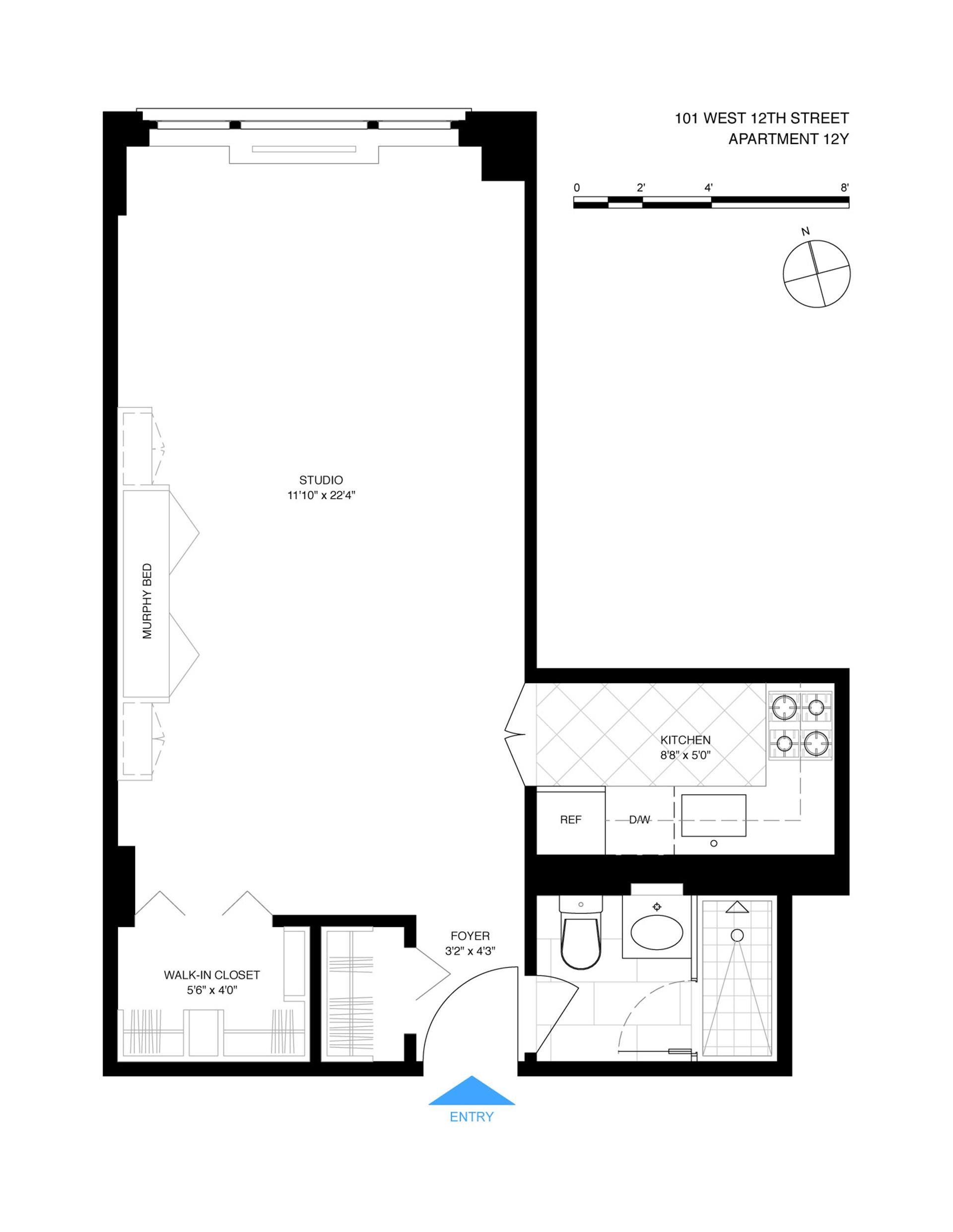 Floor plan of 101 West 12th Street, 12Y - Greenwich Village, New York