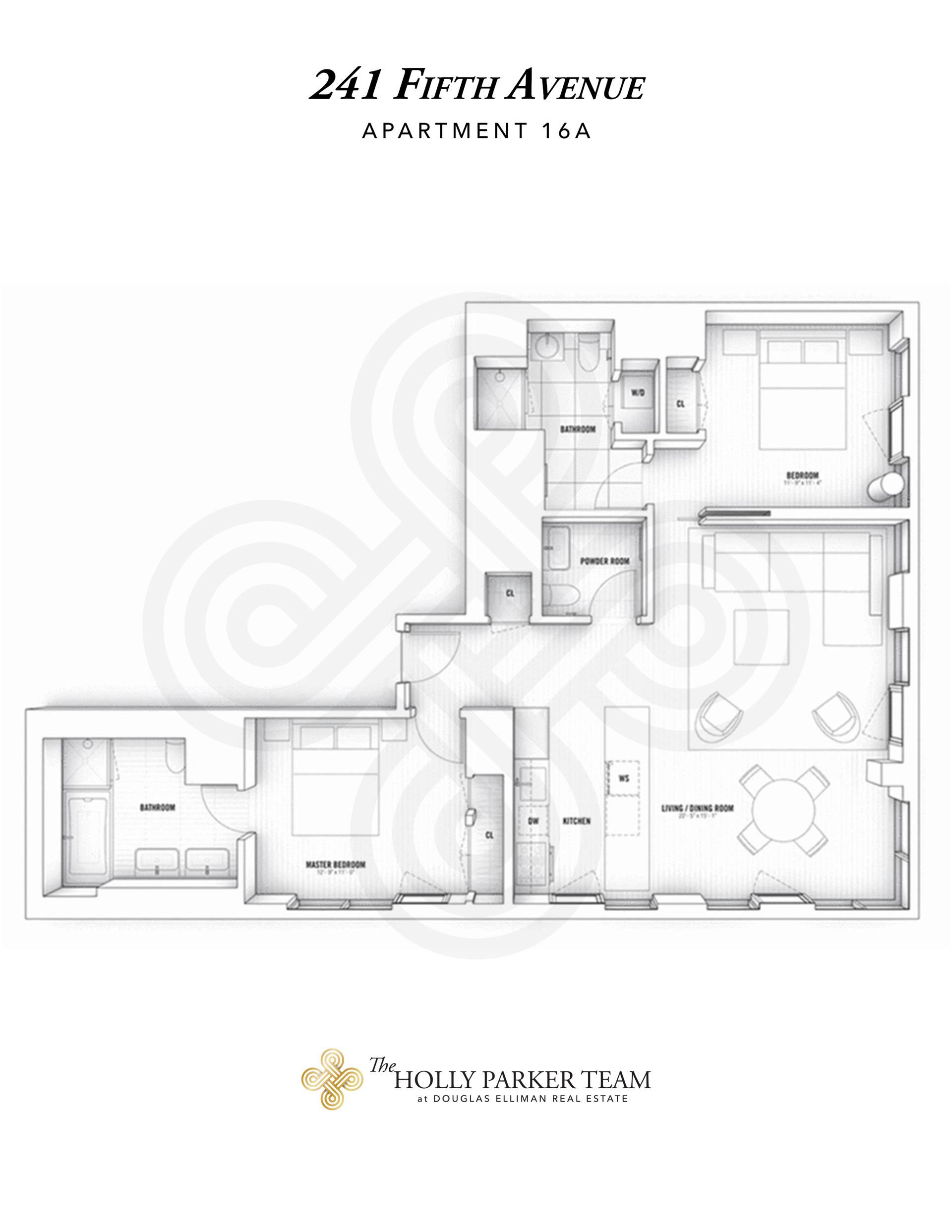 Floor plan of 241 Fifth Avenue, 16A - NoMad, New York