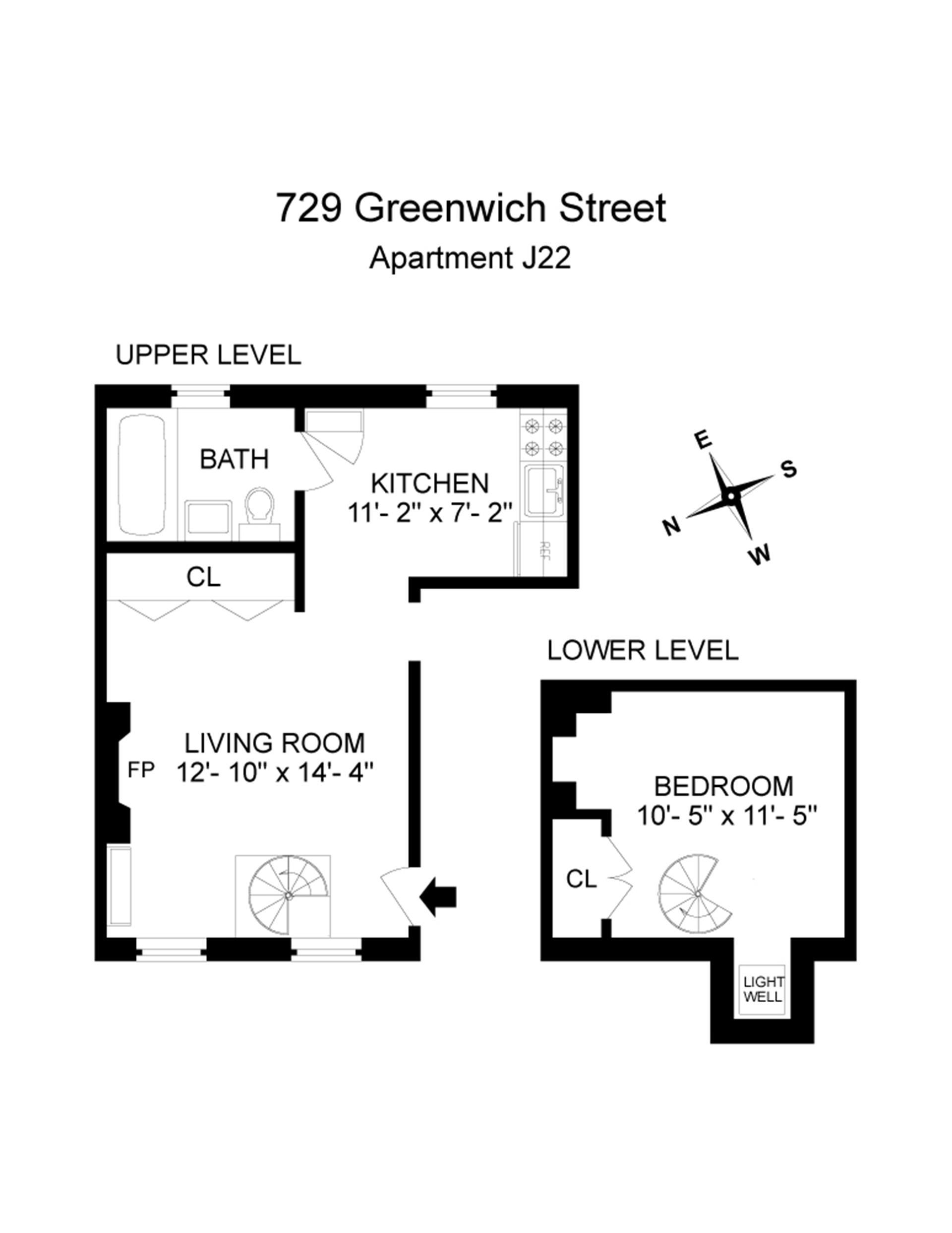 Floor plan of 729 Greenwich Street, J22 - West Village - Meatpacking District, New York