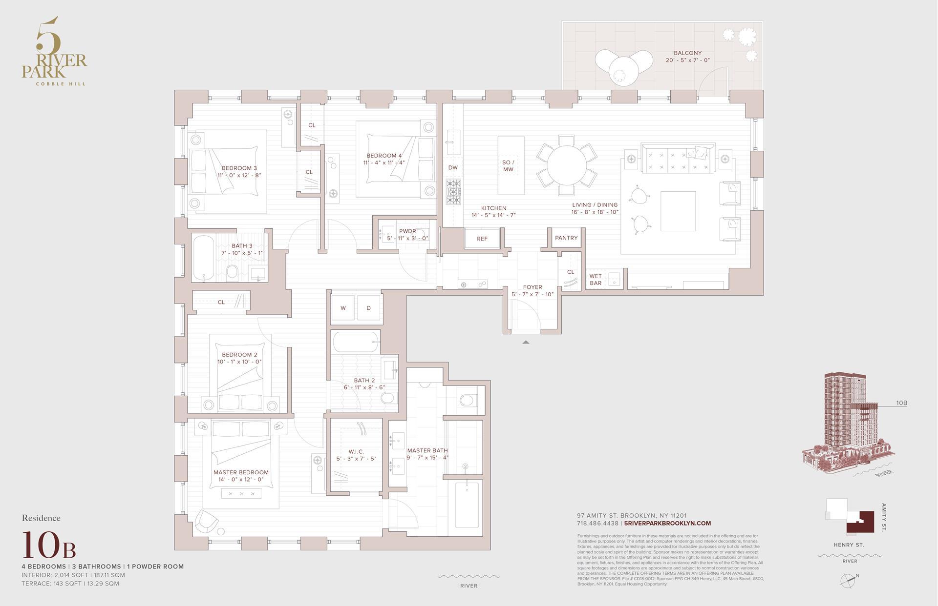 Floor plan of 5 River Park, 347 Henry Street, 10B - Cobble Hill, New York