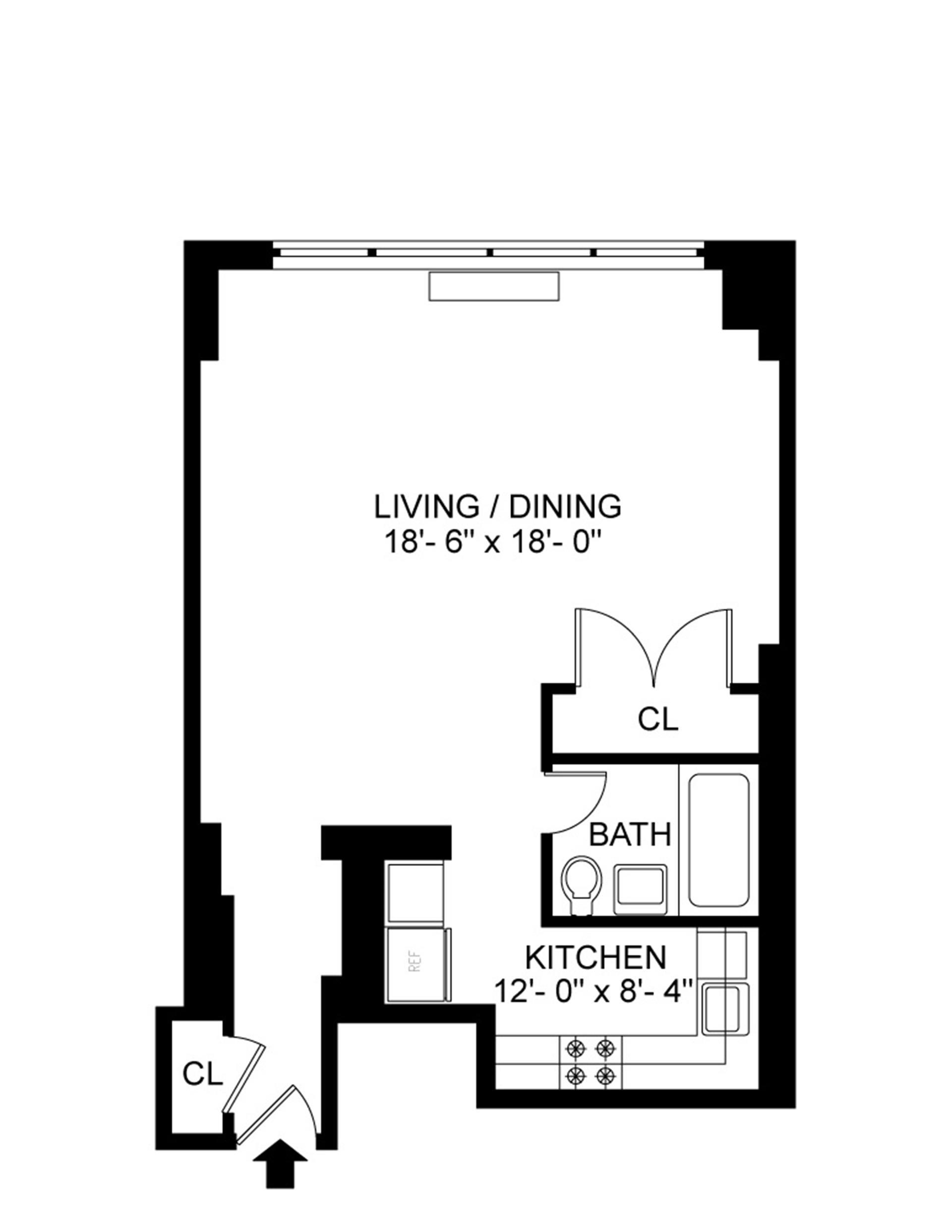Floor plan of 201 West 21st Street, 4B - Chelsea, New York