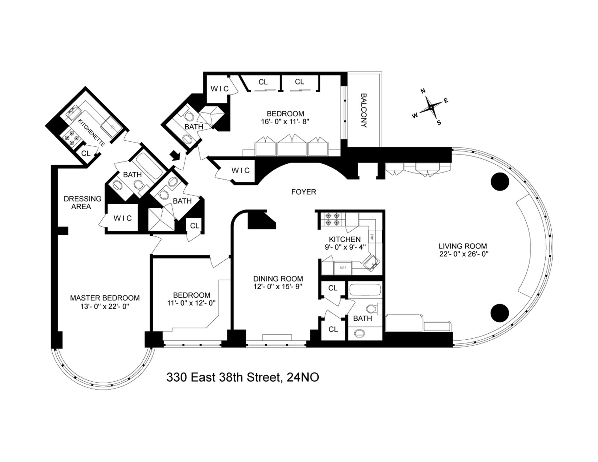 Floor plan of 330 East 38th Street, 24NO - Murray Hill, New York